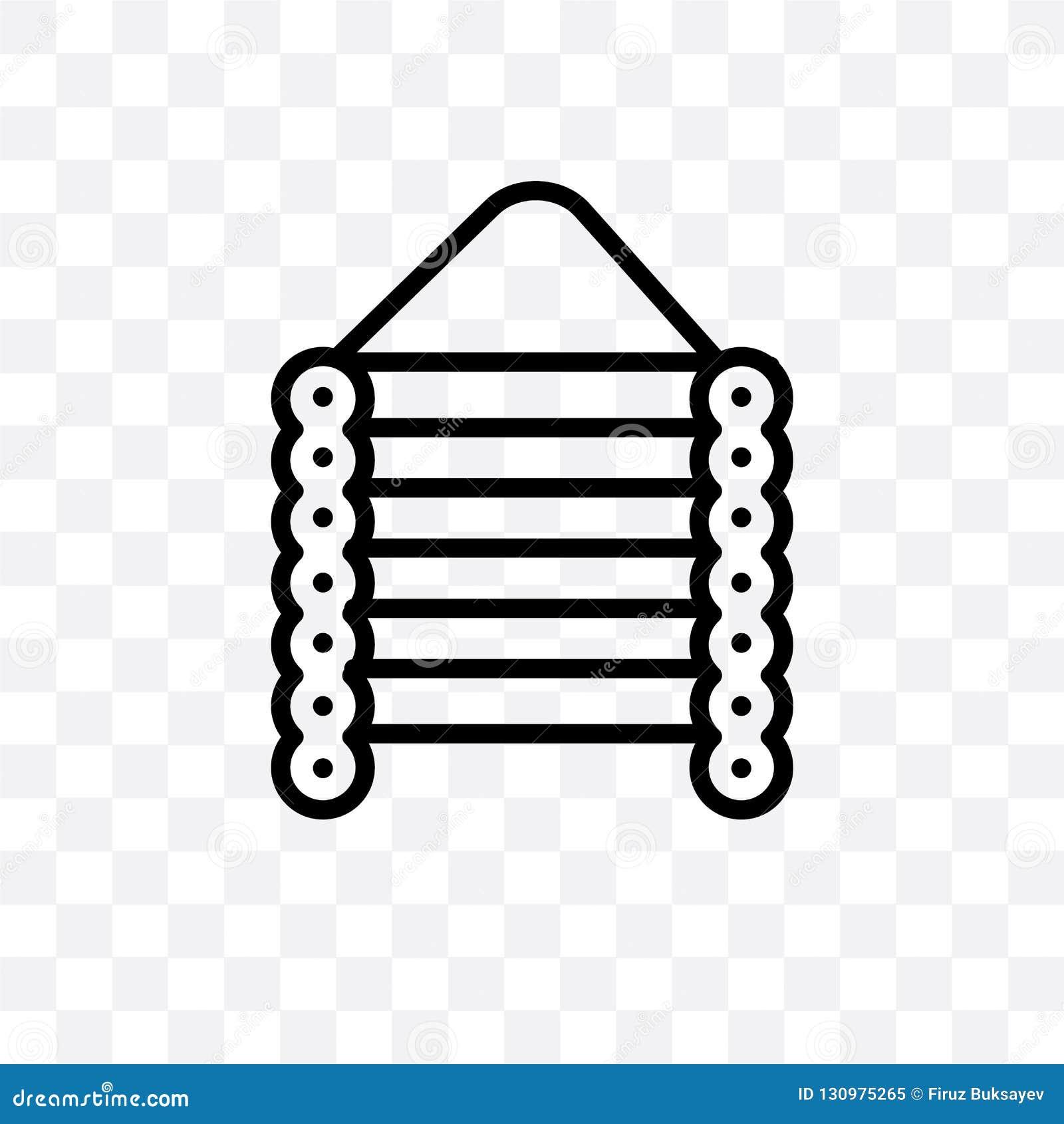 L icona lineare di vettore della cabina di natale isolata su fondo trasparente, concetto della trasparenza della cabina di natale