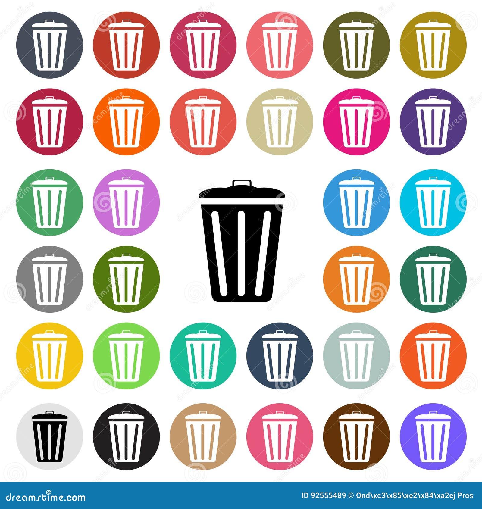 L icona piana di progettazione del bidone della spazzatura moderno di vettore ha messo in bottone