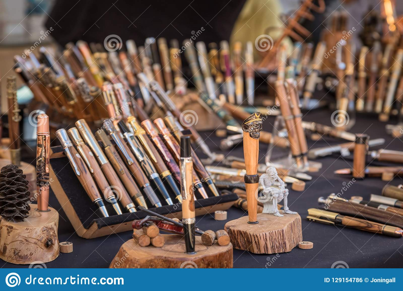 Wooden Pens For Sale At Artisan Market In Ile Rousse Editorial Photo