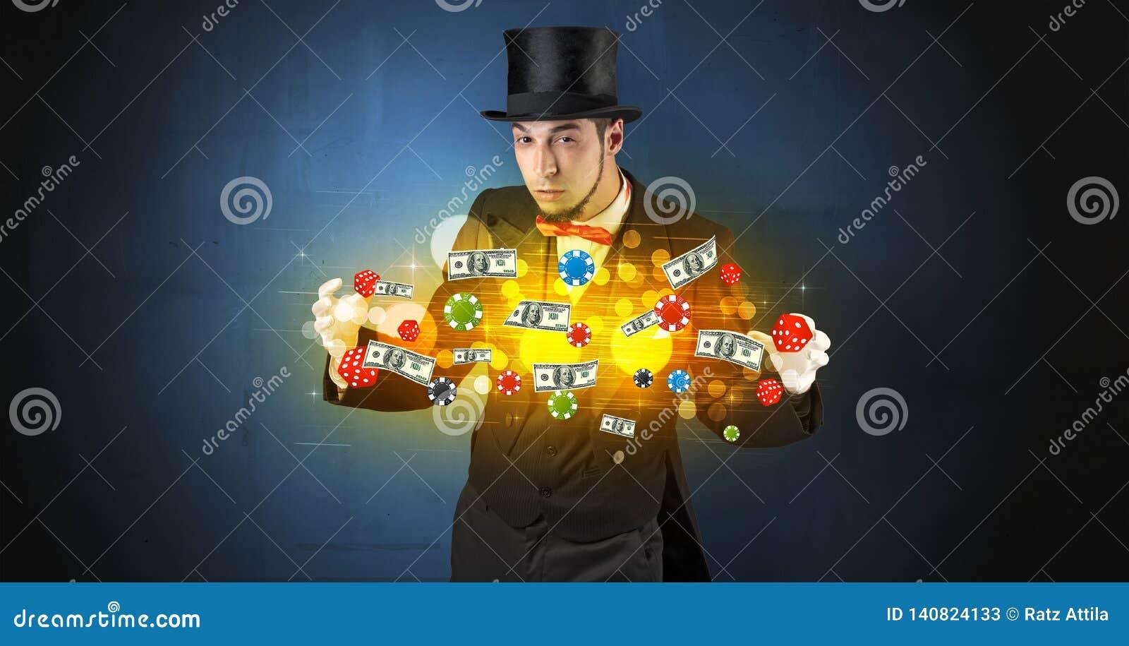 L illusionniste créent avec ses personnels de jeu de main