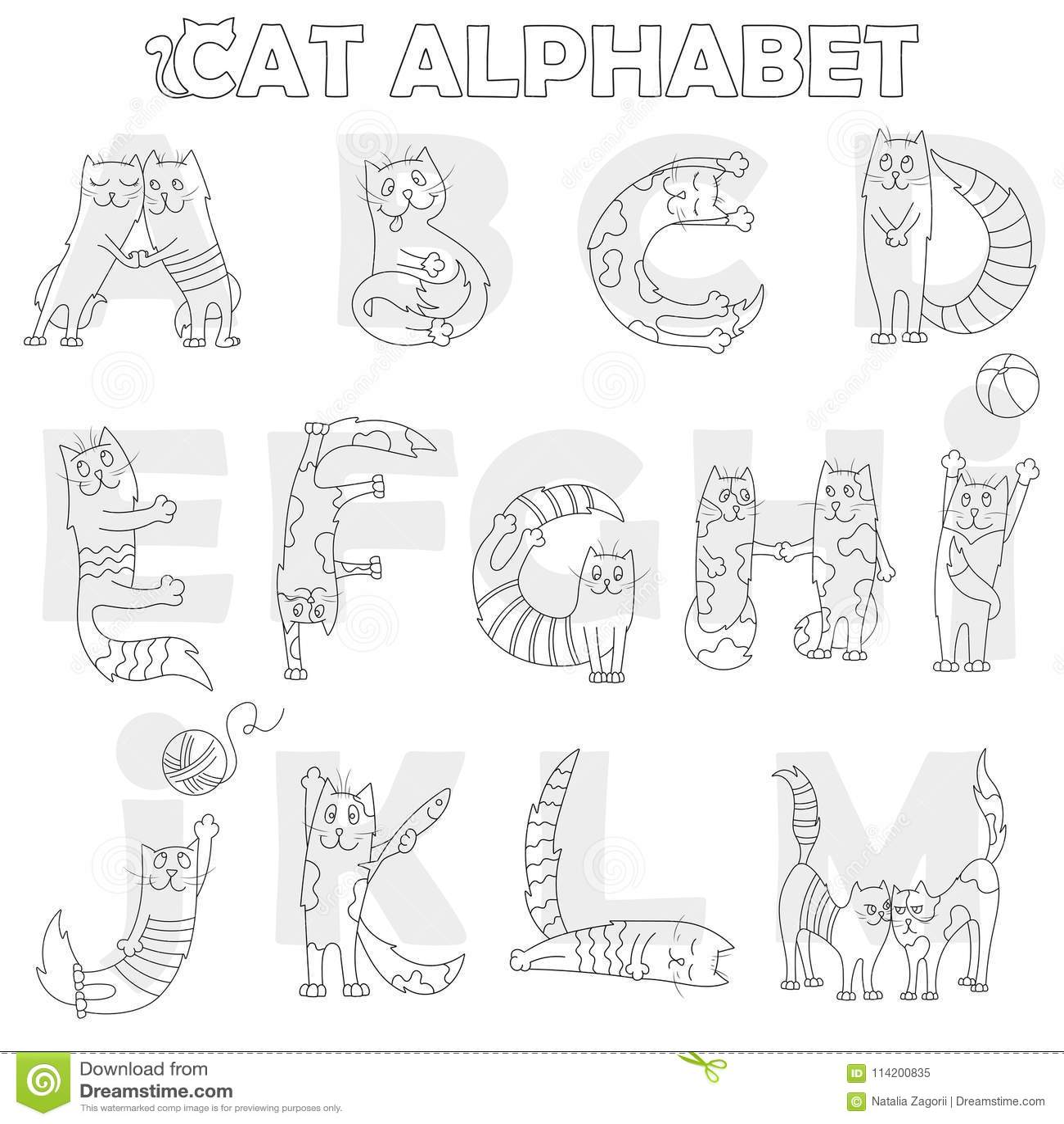 L illustration avec l alphabet latin, la partie, d A à M, le chat drôle de bande dessinée sous forme de lettres, livre de coloria