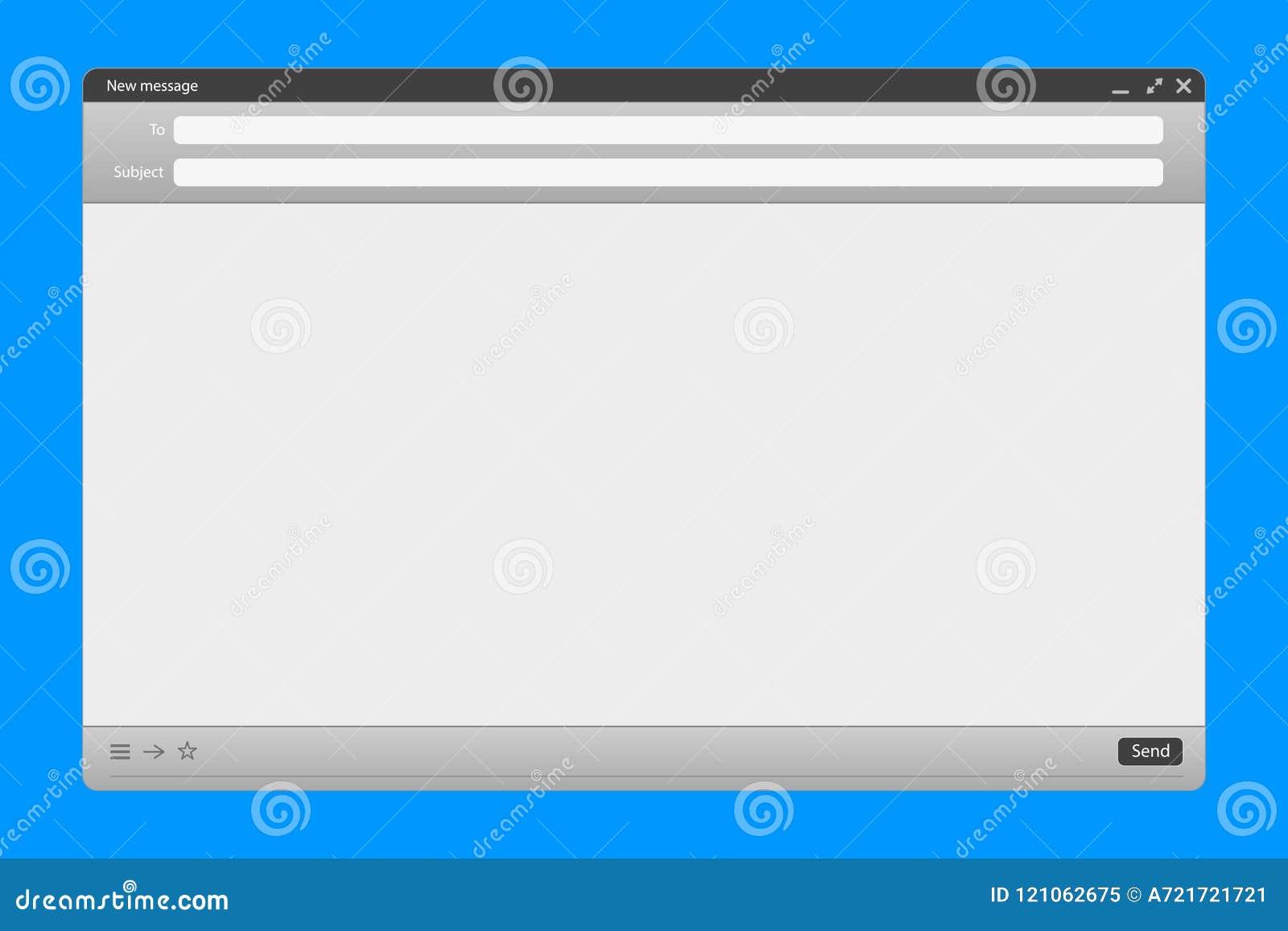 L illustration créative de vecteur de l interface de message électronique avec envoient la forme d isolement sur le fond transpar