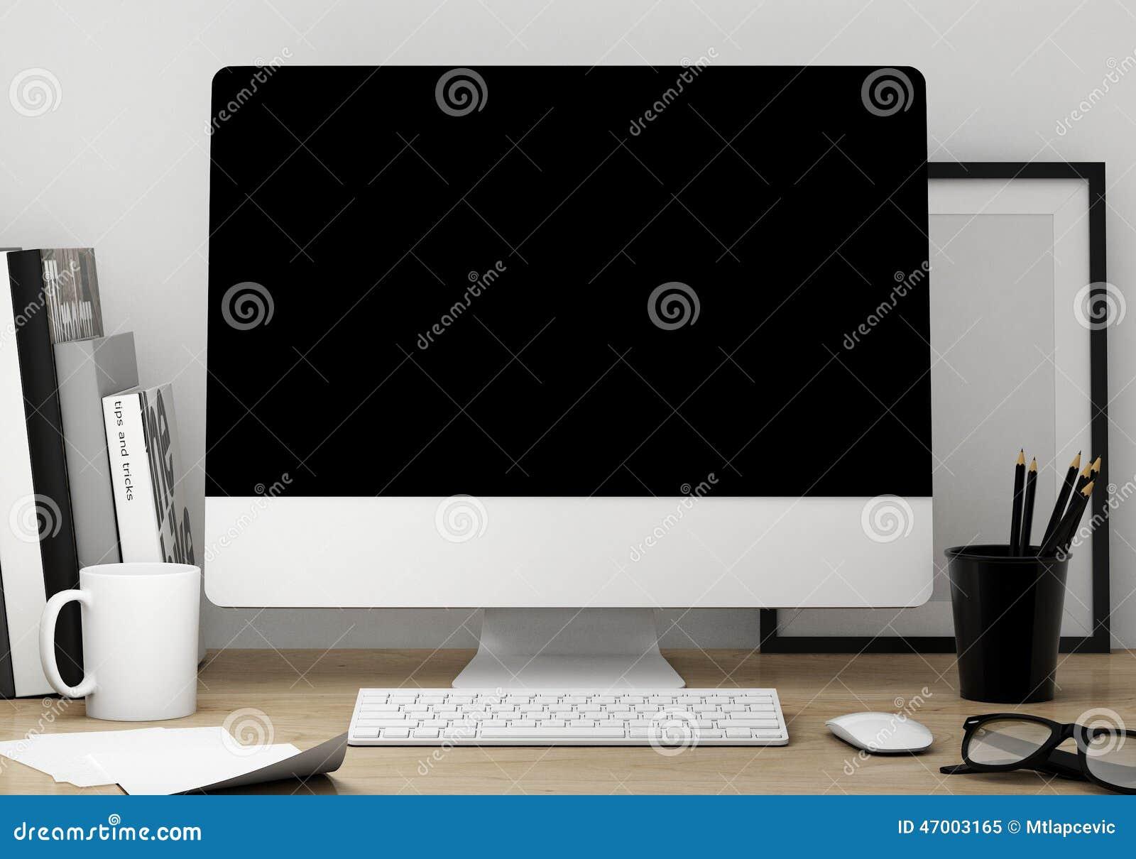 Lillustration 3d Du Calibre Moderne Despace De Travail D