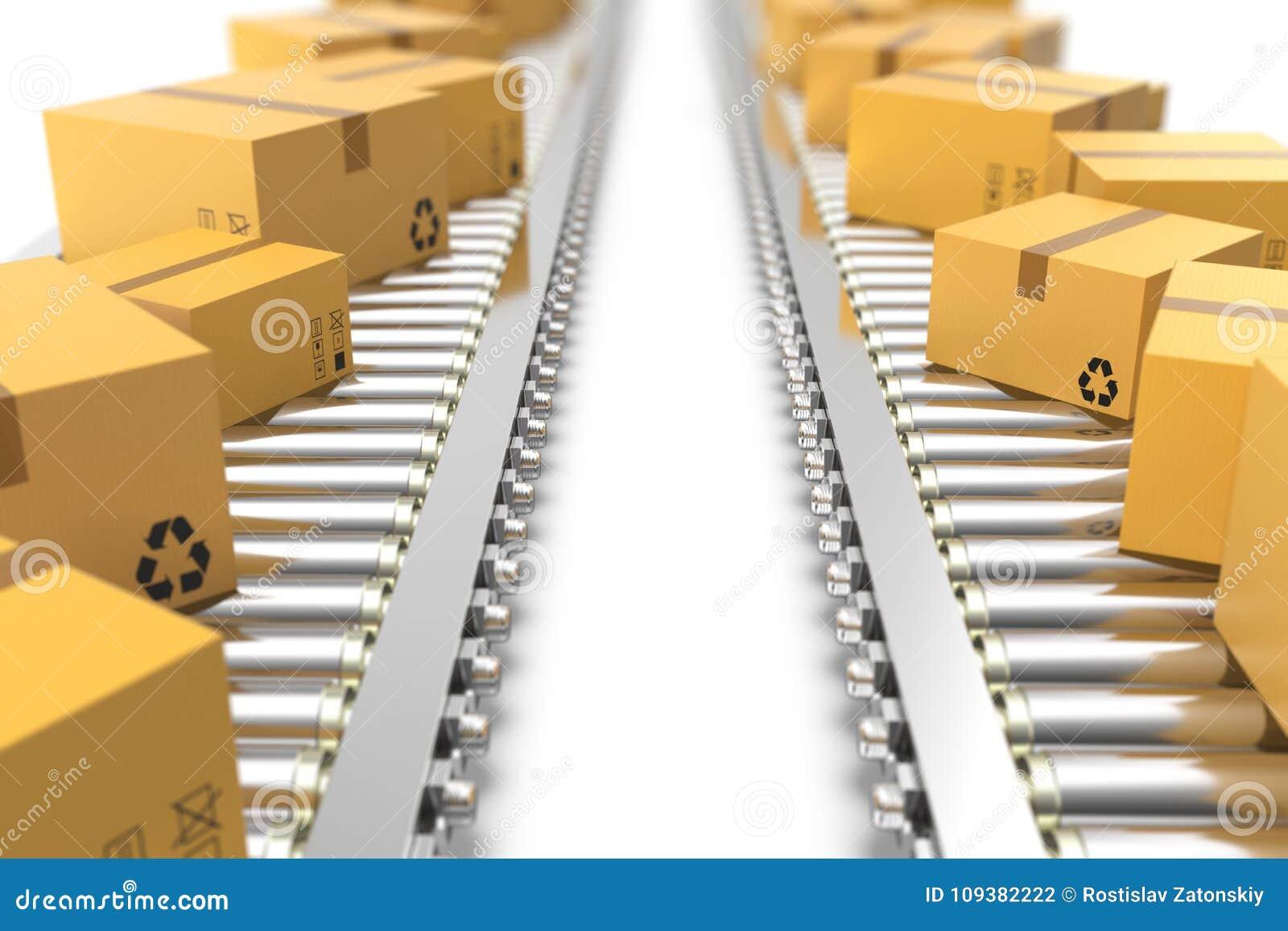 L illustration 3D empaquette la livraison, service d emballage et partage le concept de système de transport, boîtes en carton de