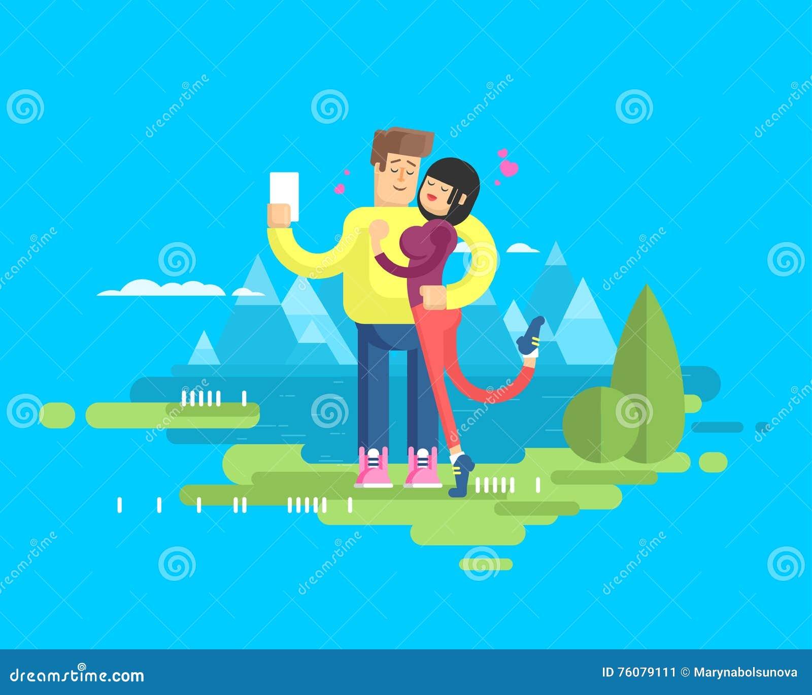 L illustration d un ménage marié heureux sur l étreinte de vacances, d homme et de femme font à selfie le fond