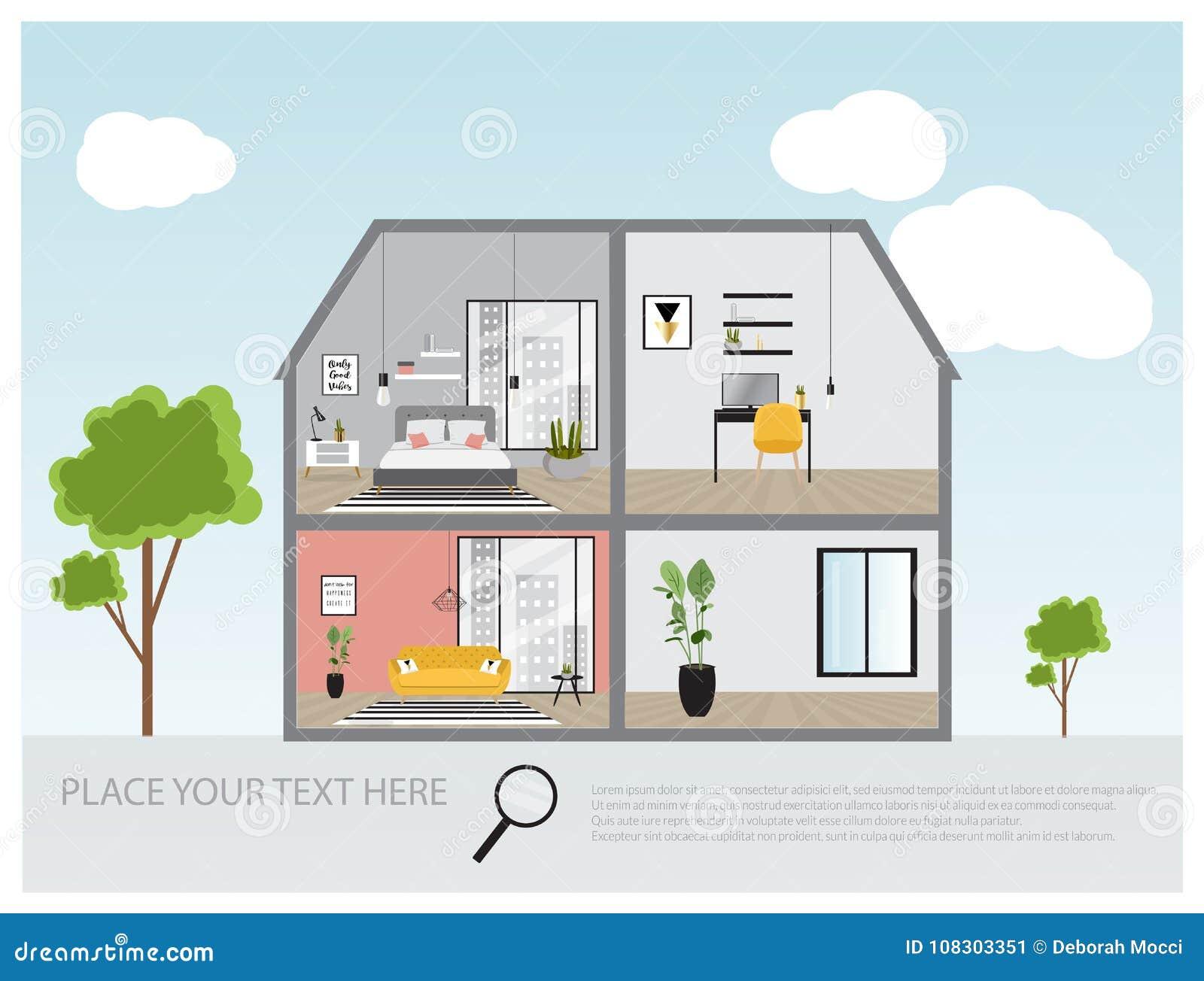 L\'illustration D\'une Maison De Luxe Moderne, Logent La ...