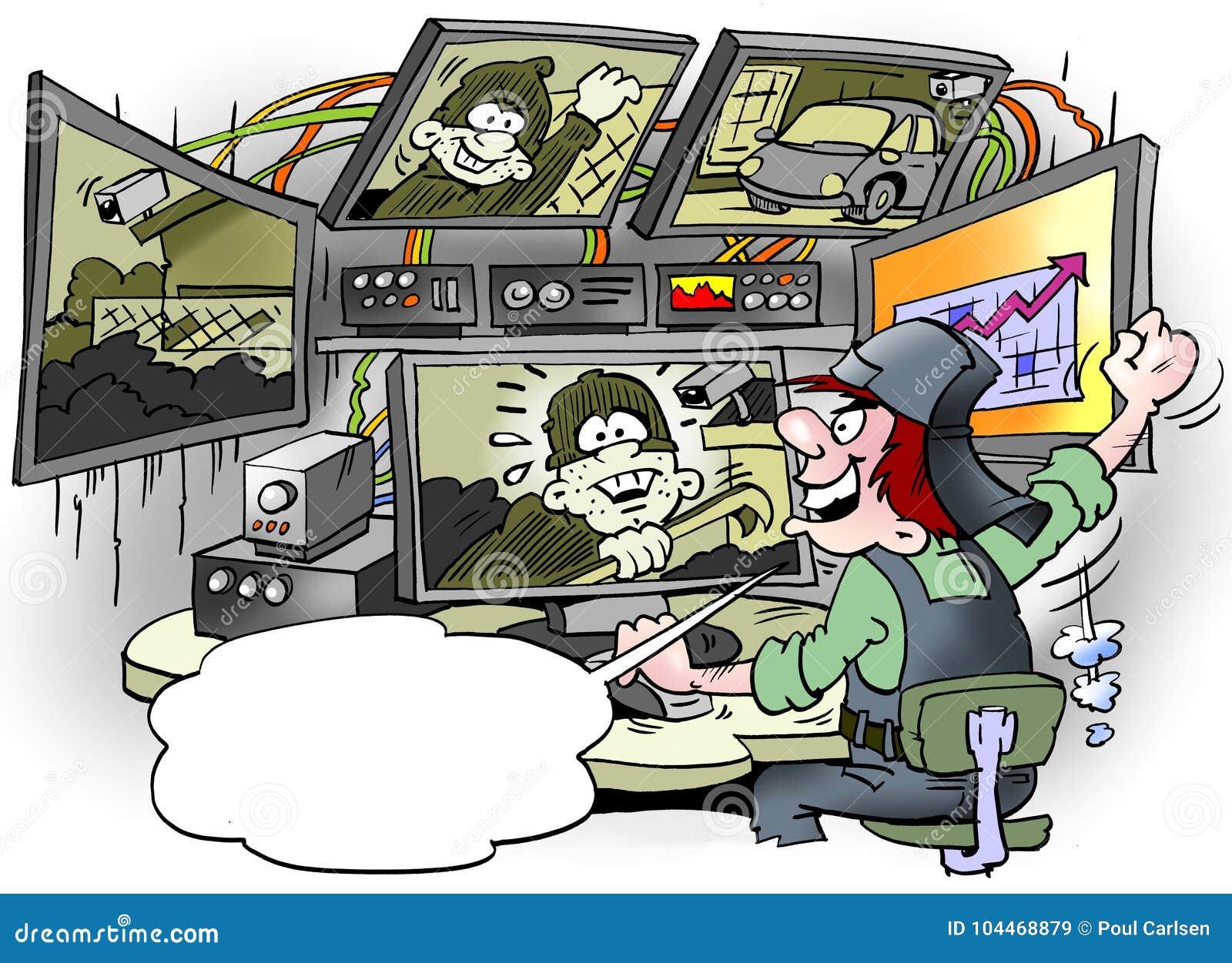 L illustration de bande dessinée du voleur de voiture d A a été découverte dans une installation géante de surveillance