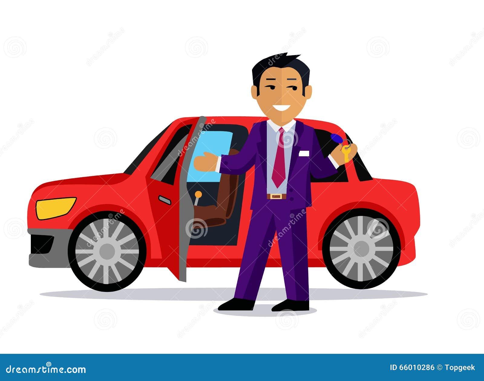 L illustration de l homme achète une nouvelle voiture