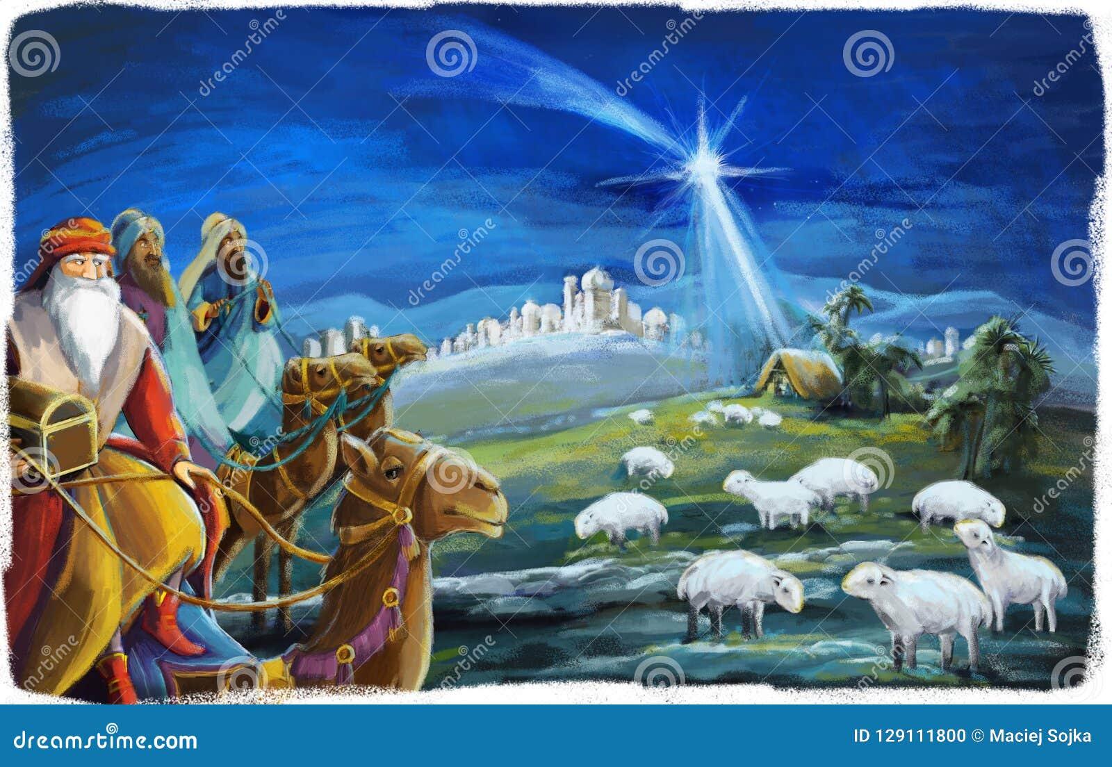 L illustration de la famille sainte et de trois rois - scène traditionnelle