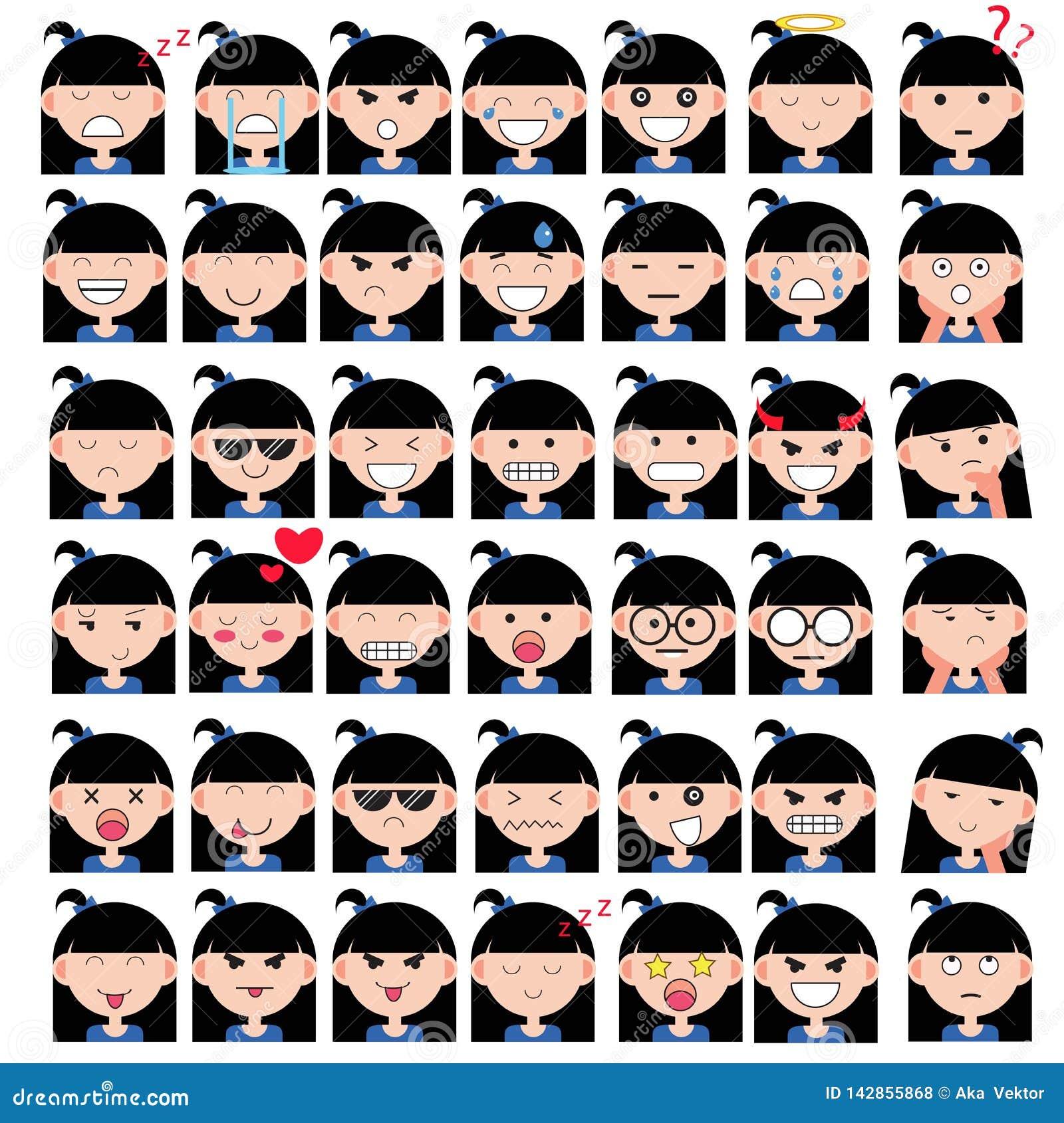 L illustration de la fille mignonne asiatique fait face à montrer différentes émotions La joie, tristesse, colère, parler, drôle,
