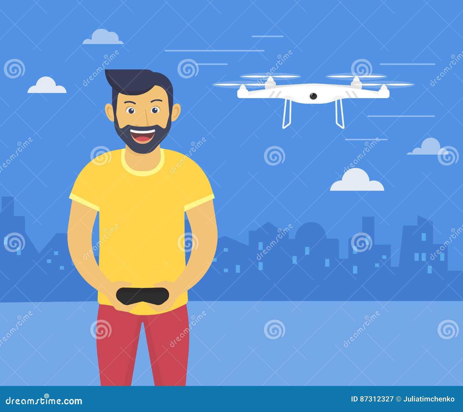 L illustration de lancement d amusement de Quadrocopter de l homme de sourire de youn conduit le bourdon de vol