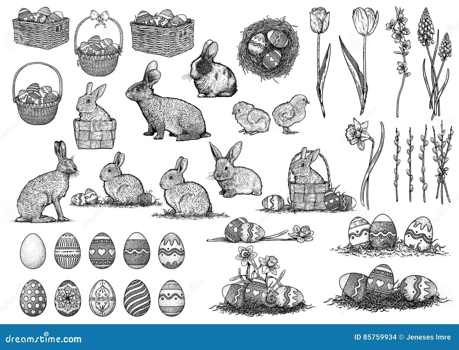 L illustration de Pâques, dessin, gravure, a placé la collection