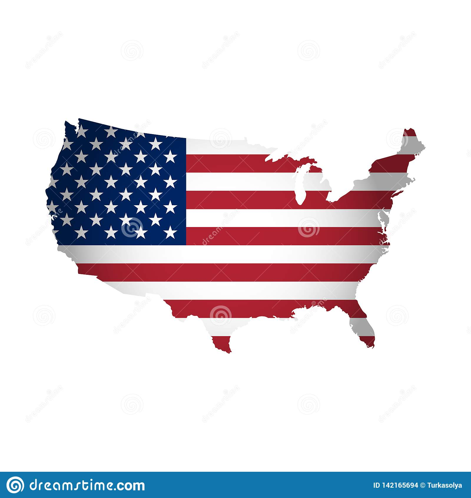 L illustration de vecteur avec le drapeau national américain avec la forme des Etats-Unis tracent Étoiles et pistes Couleurs roug