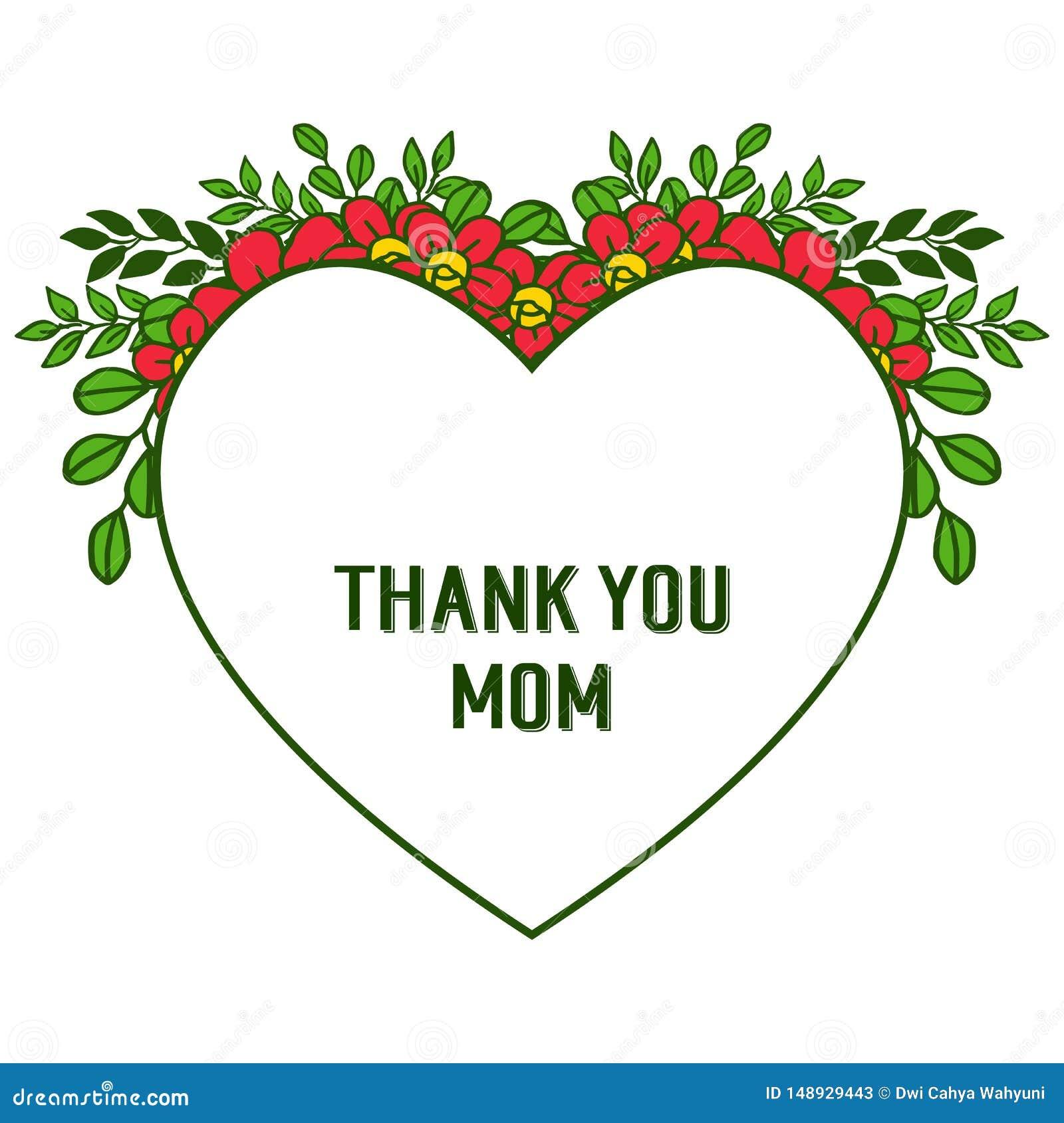 L illustration de vecteur d?corative de la carte vous remercient maman avec de beaux cadres oranges de fleur