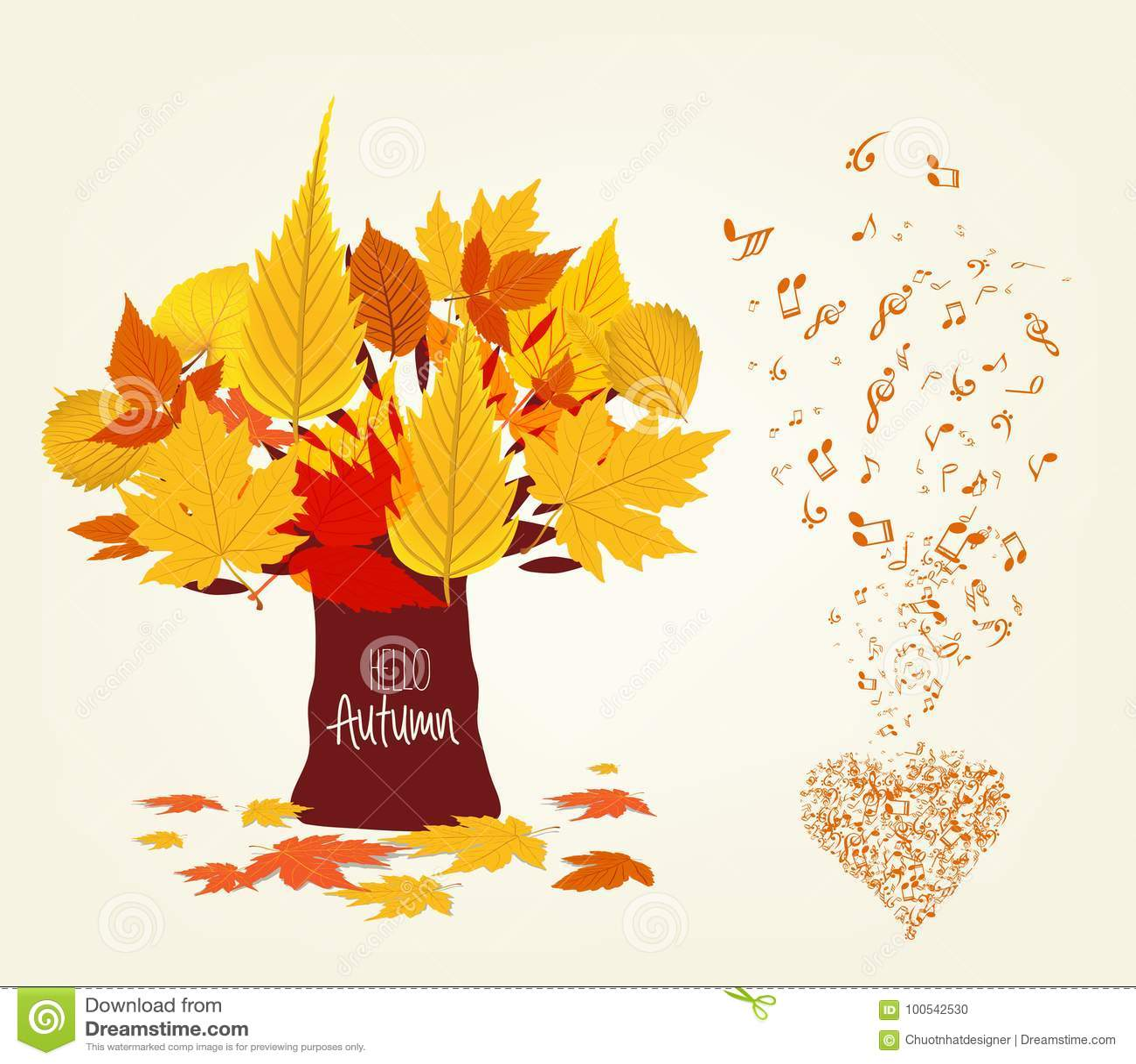 L illustration de vecteur des feuilles d automne conçoivent et le musical est mon âme