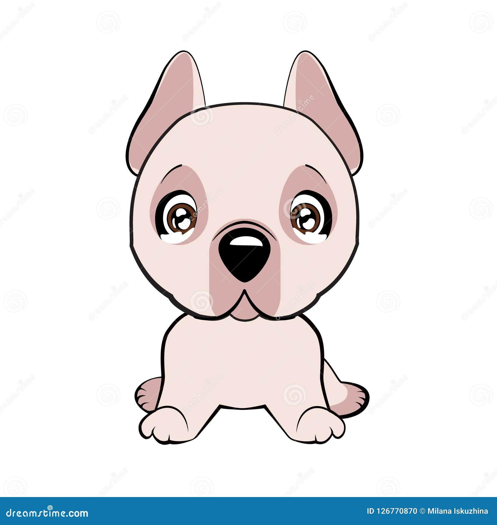 L illustration de vecteur du chien mignon dans le style plat montre l émotion triste Emoji pleurant Graphisme souriant Causerie,