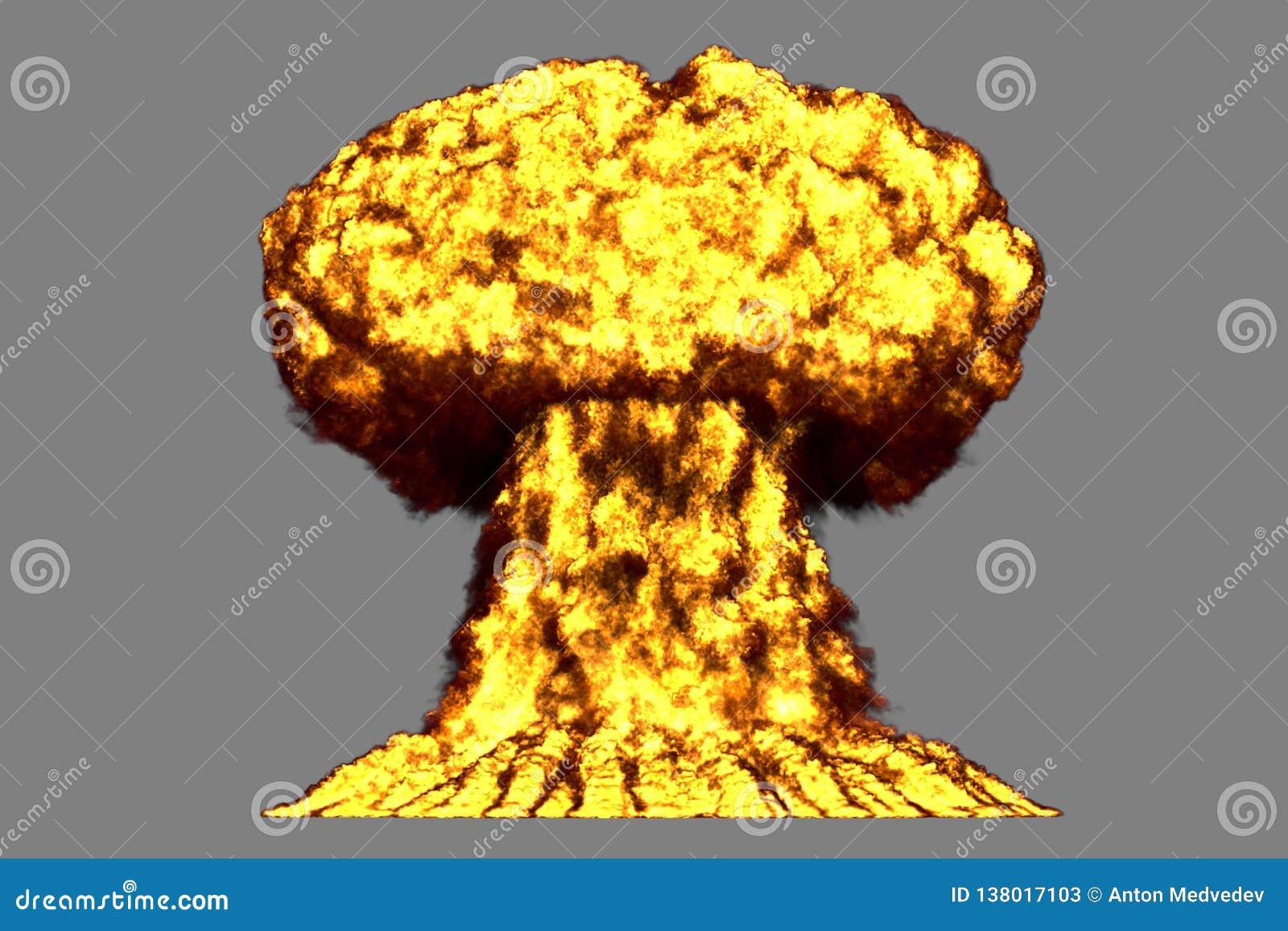 L illustration du souffle 3D de l explosion fortement détaillée énorme de champignon atomique avec des regards du feu et de fumée