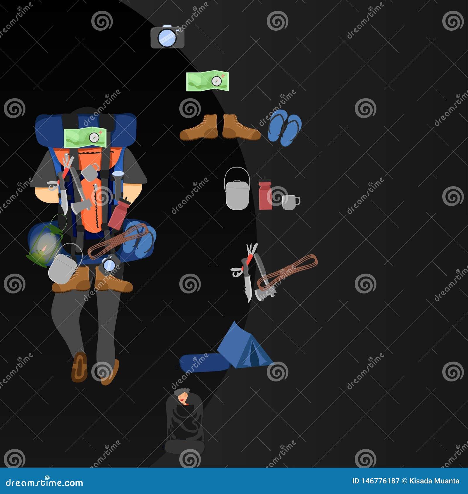 L illustration eps10 de vecteur de slowlife d équipement de randonneur