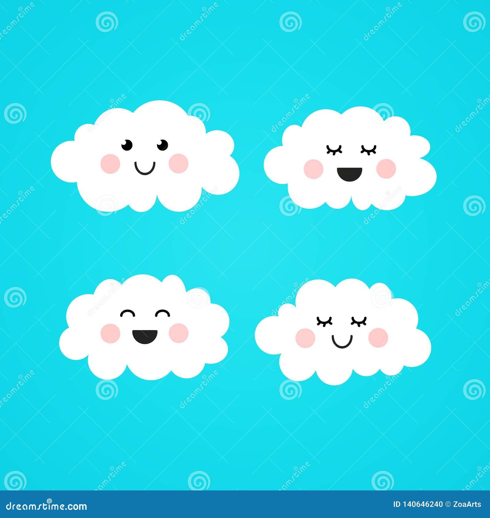 L illustration Kawaii mignon de vecteur couplent le nuage de sourire