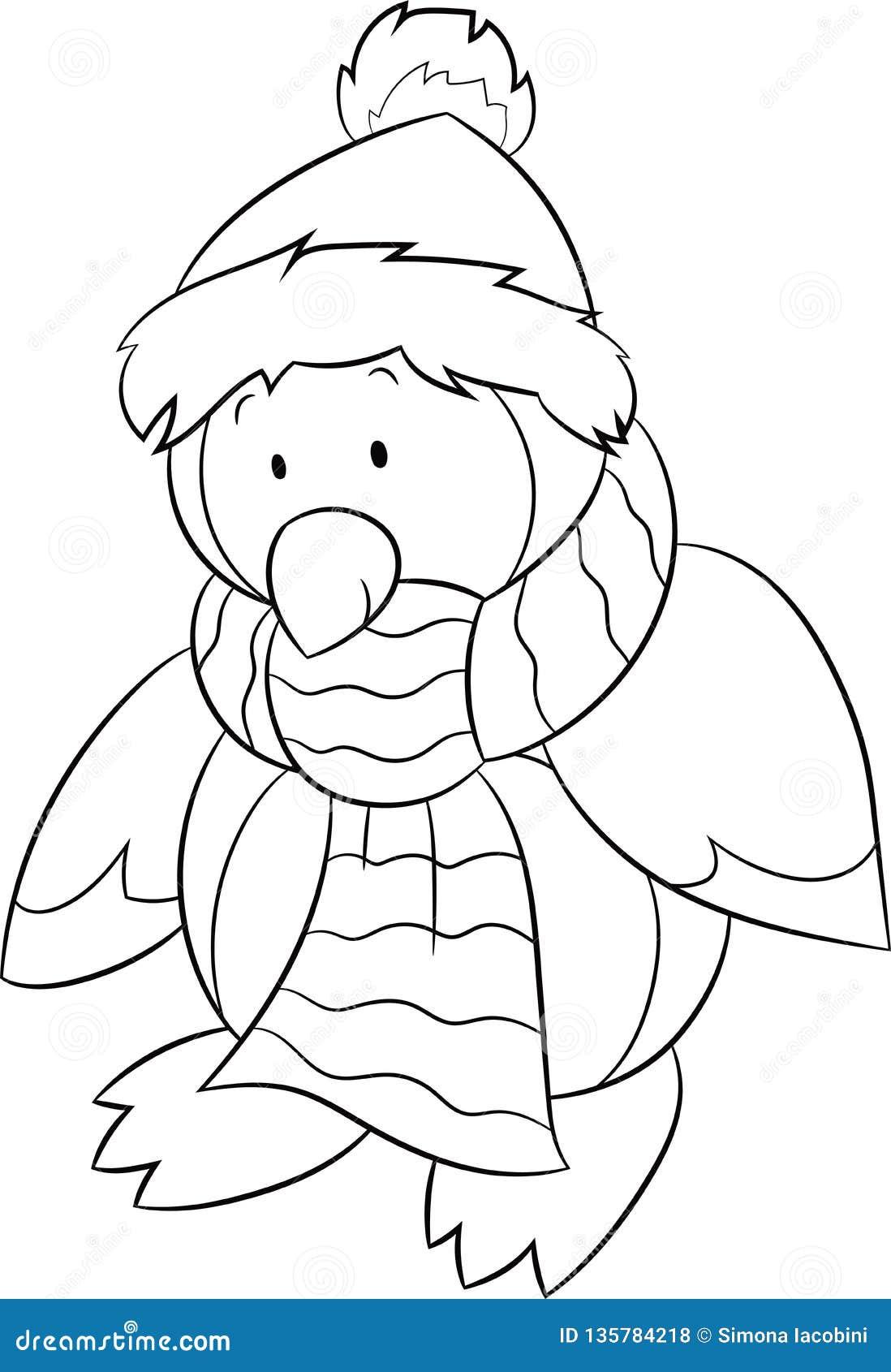 Coloriage Pingouin Kawaii.L Illustration Noire Et Blanche D Un Pingouin De Bebe Habillee Pour