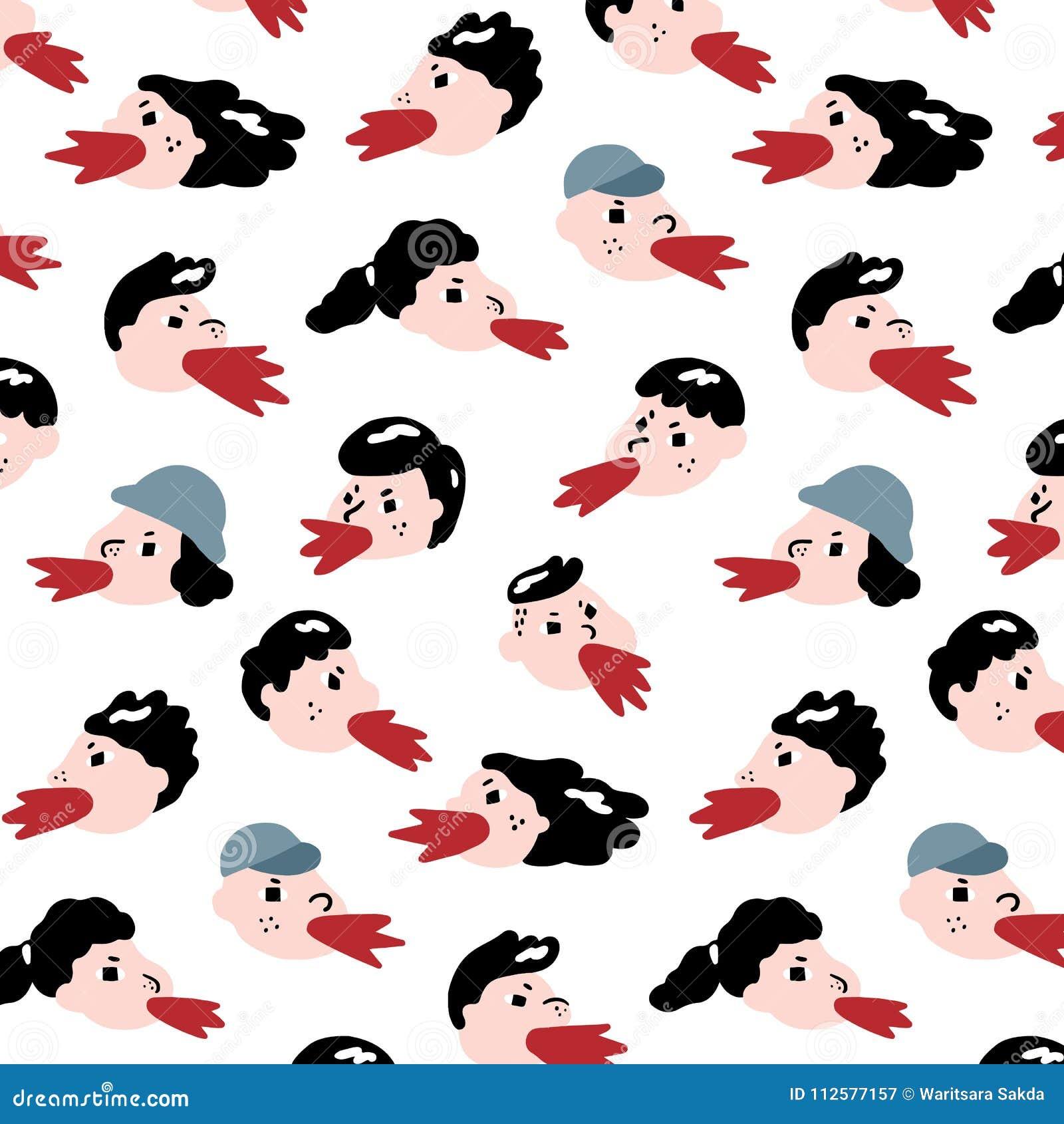 L illustration tirée par la main de vecteur des personnes se plaignent modèle Jeune homme et cri et hurlement de femme Papier pei