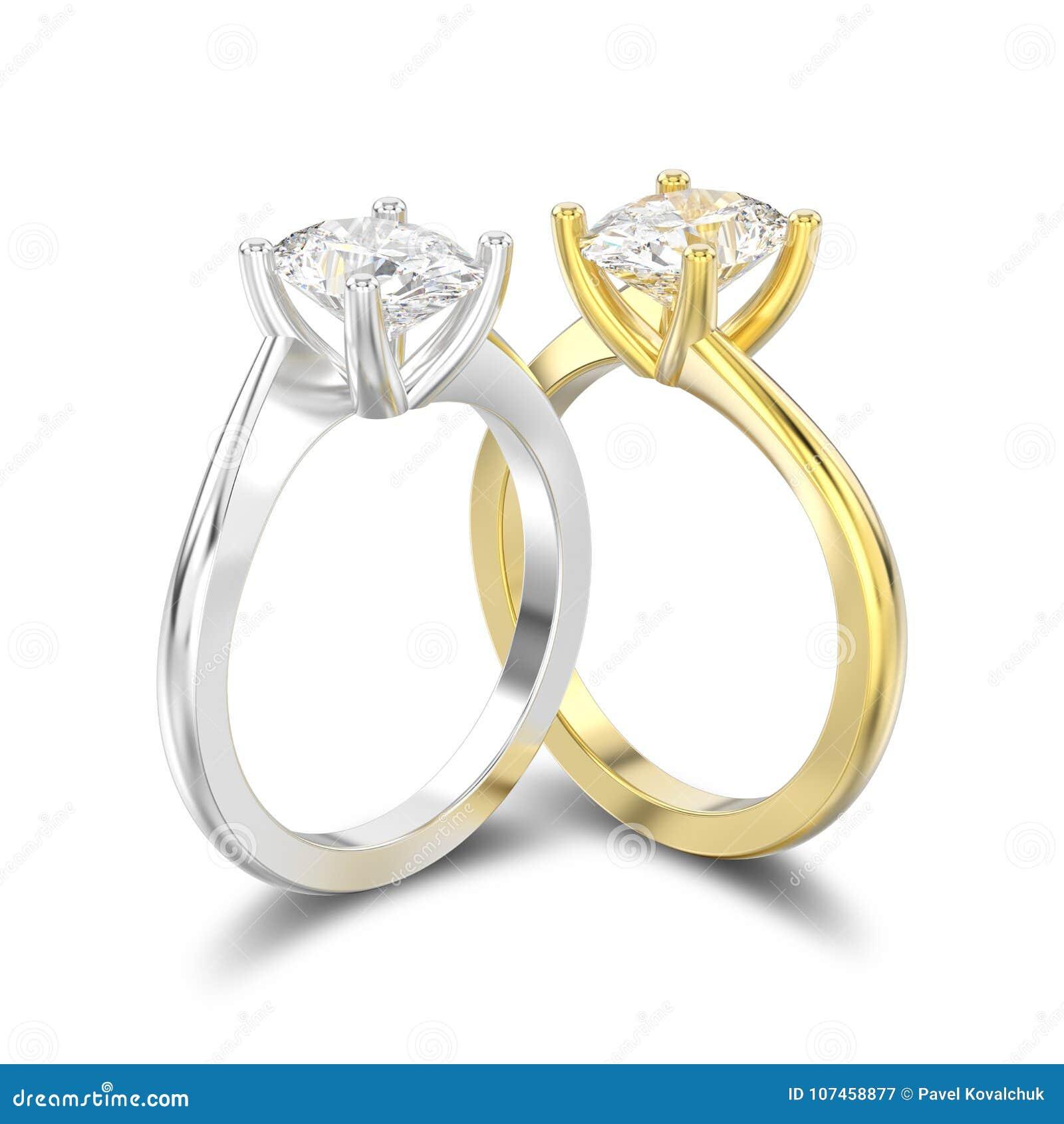 L illustrazione 3D ha isolato due gialli e gli inglesi dell argento o dell oro bianco