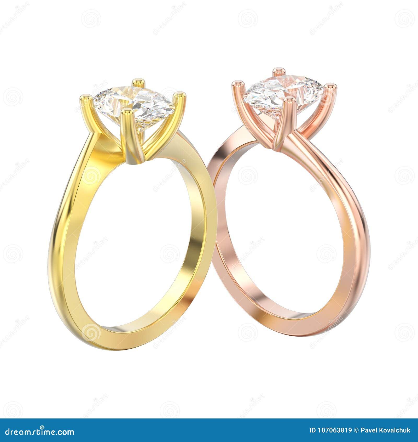 L illustrazione 3D ha isolato due giallo ed ill rosa di impegno dell oro