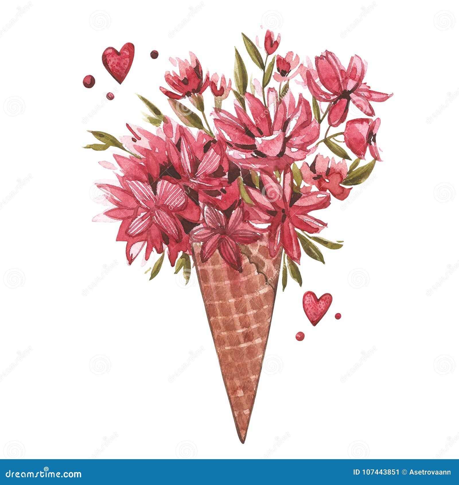 L illustrazione dell acquerello di un cono del wafer fiorisce, stampa dell estate, cono gelato Insieme di rosa dell acquerello de