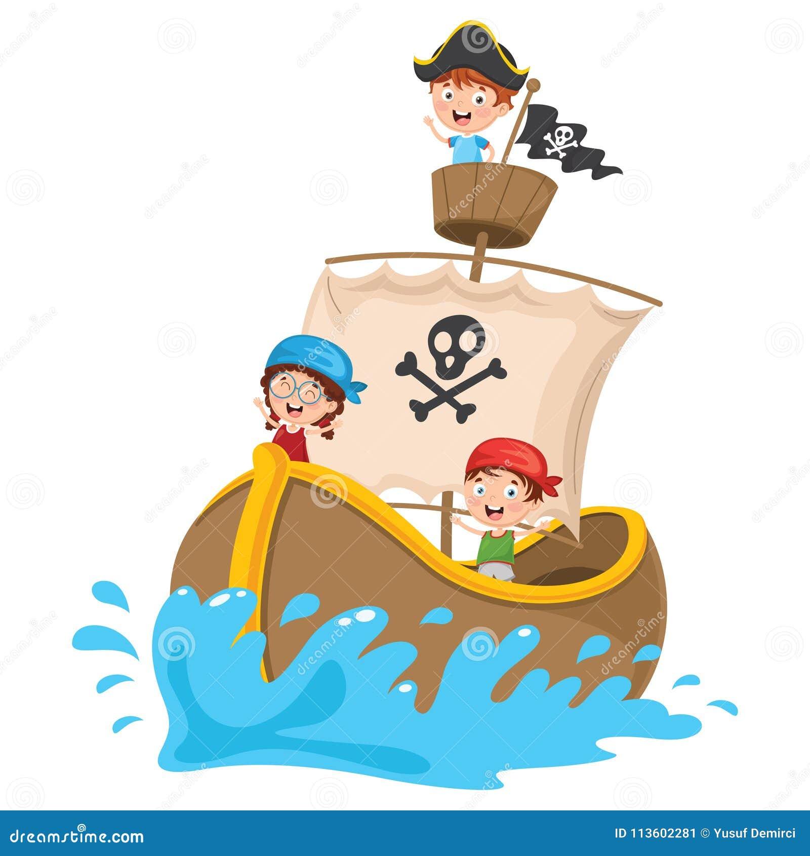 L illustrazione di vettore del fumetto scherza la nave di pirata