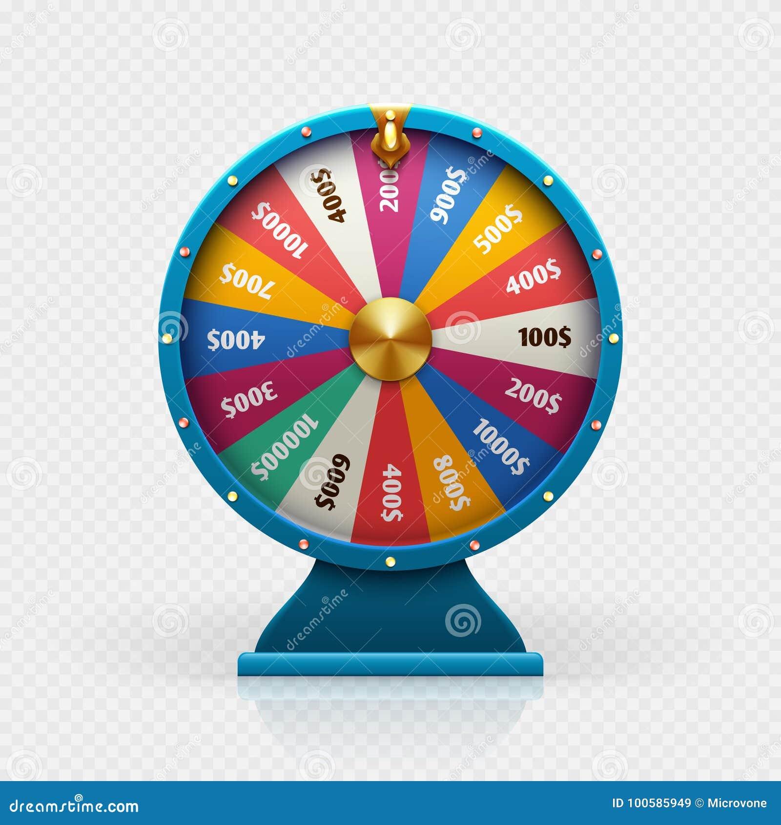 L illustrazione di vettore isolata ruota di fortuna delle roulette 3d per fondo di gioco e la lotteria vincono il concetto