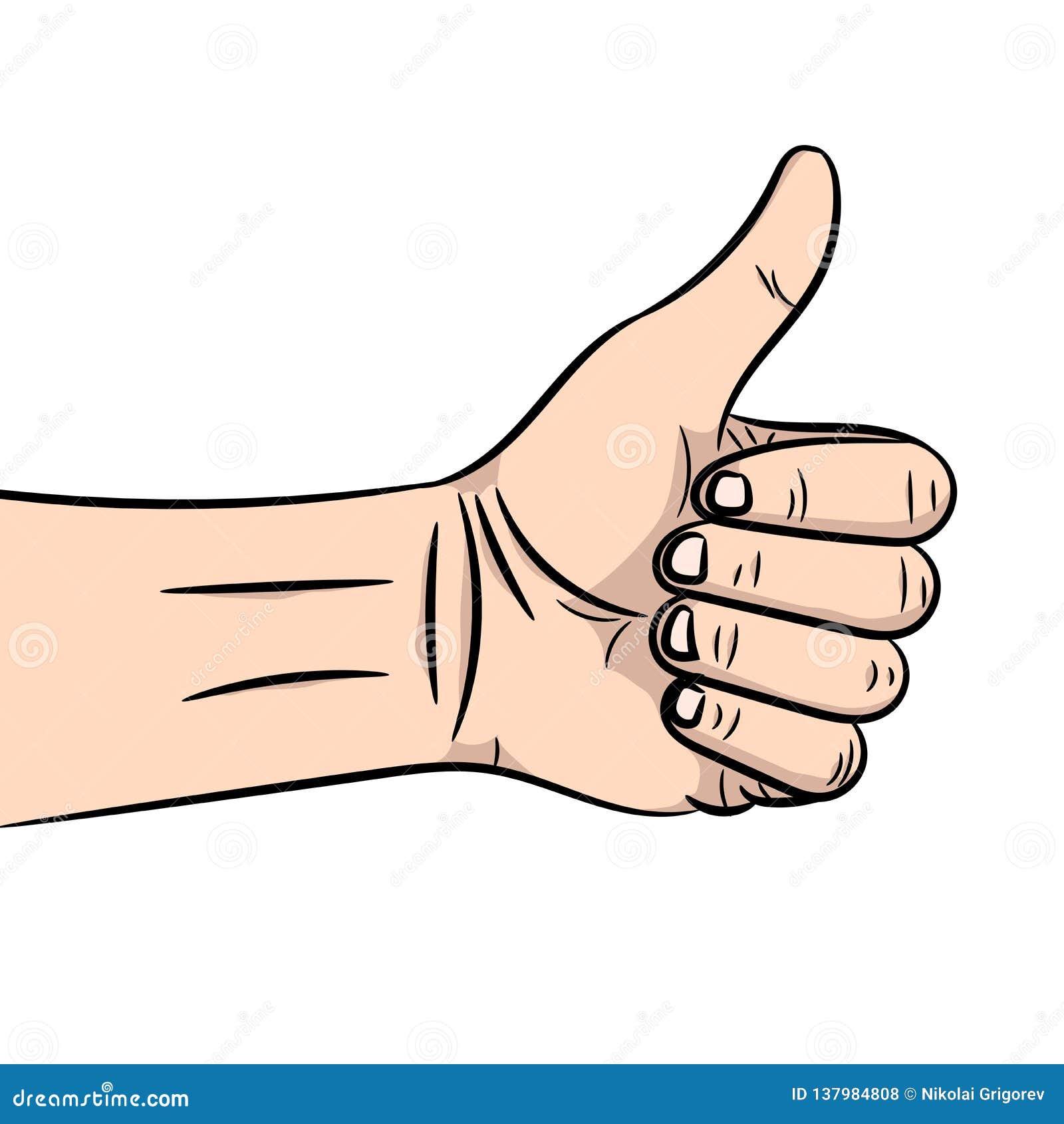 L illustrazione di vettore di una mano che mostra al segno un pollice su