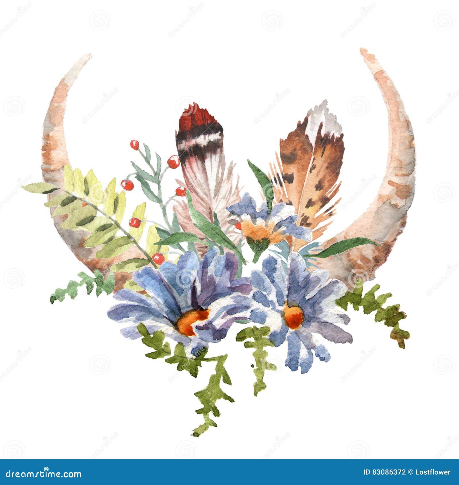 L image chic de boho d aquarelle fleurit, des plumes, éléments animaux