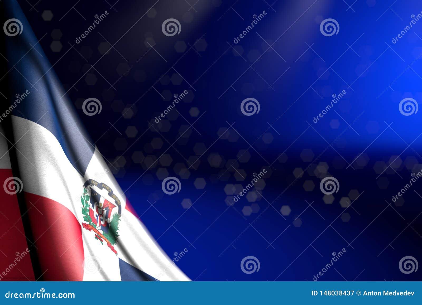 L image gentille du drapeau de la République Dominicaine accroche dans le coin sur le bleu avec le foyer mou et l endroit vide po