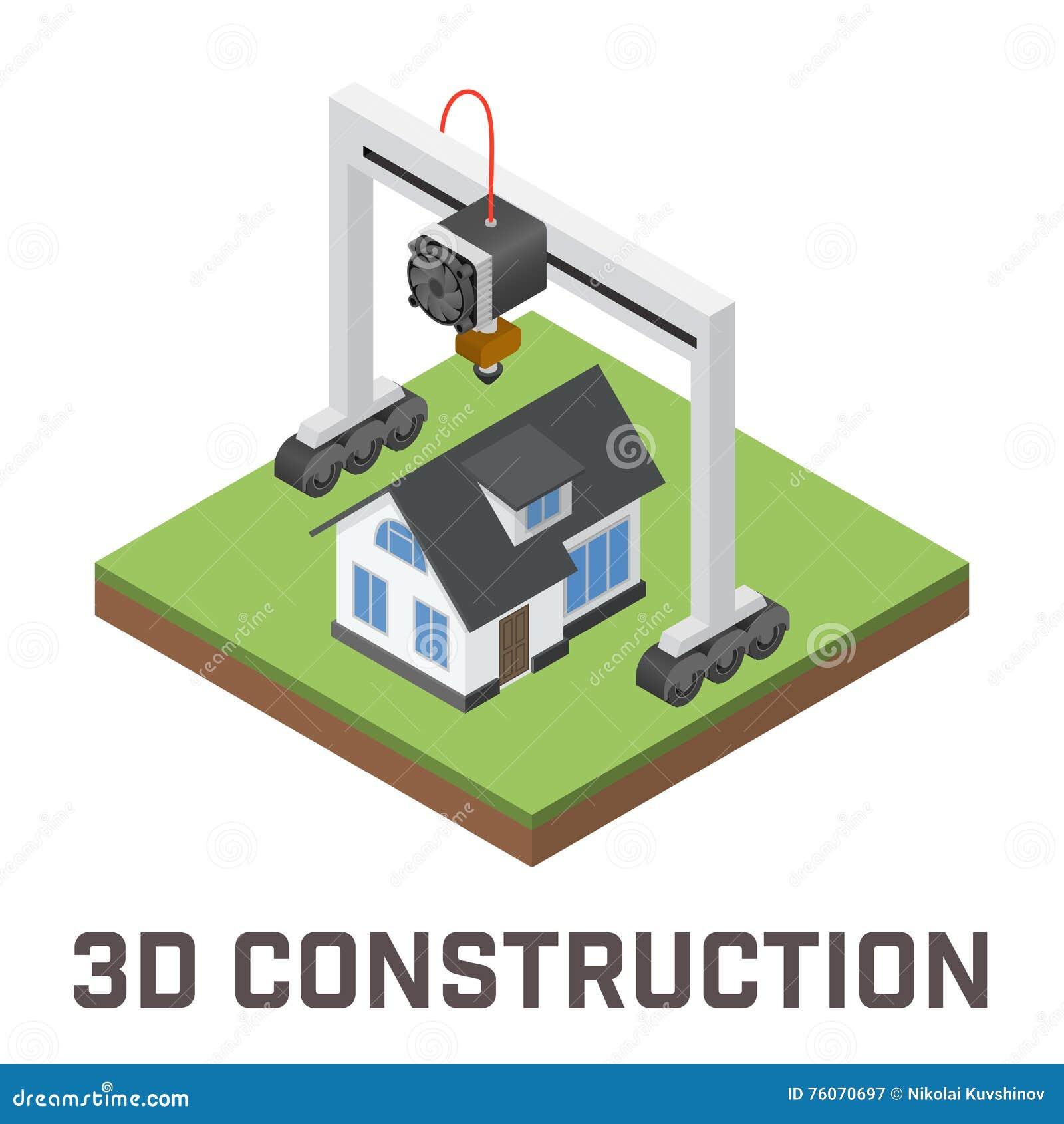 l 39 imprimante 3d industrielle imprime un concept de maison illustration de vecteur illustration. Black Bedroom Furniture Sets. Home Design Ideas