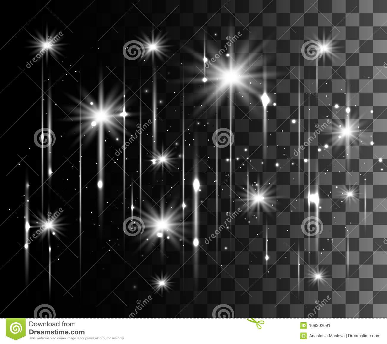 L incandescenza ha isolato l effetto trasparente bianco, il chiarore della lente, l esplosione, lo scintillio, la linea, il flash