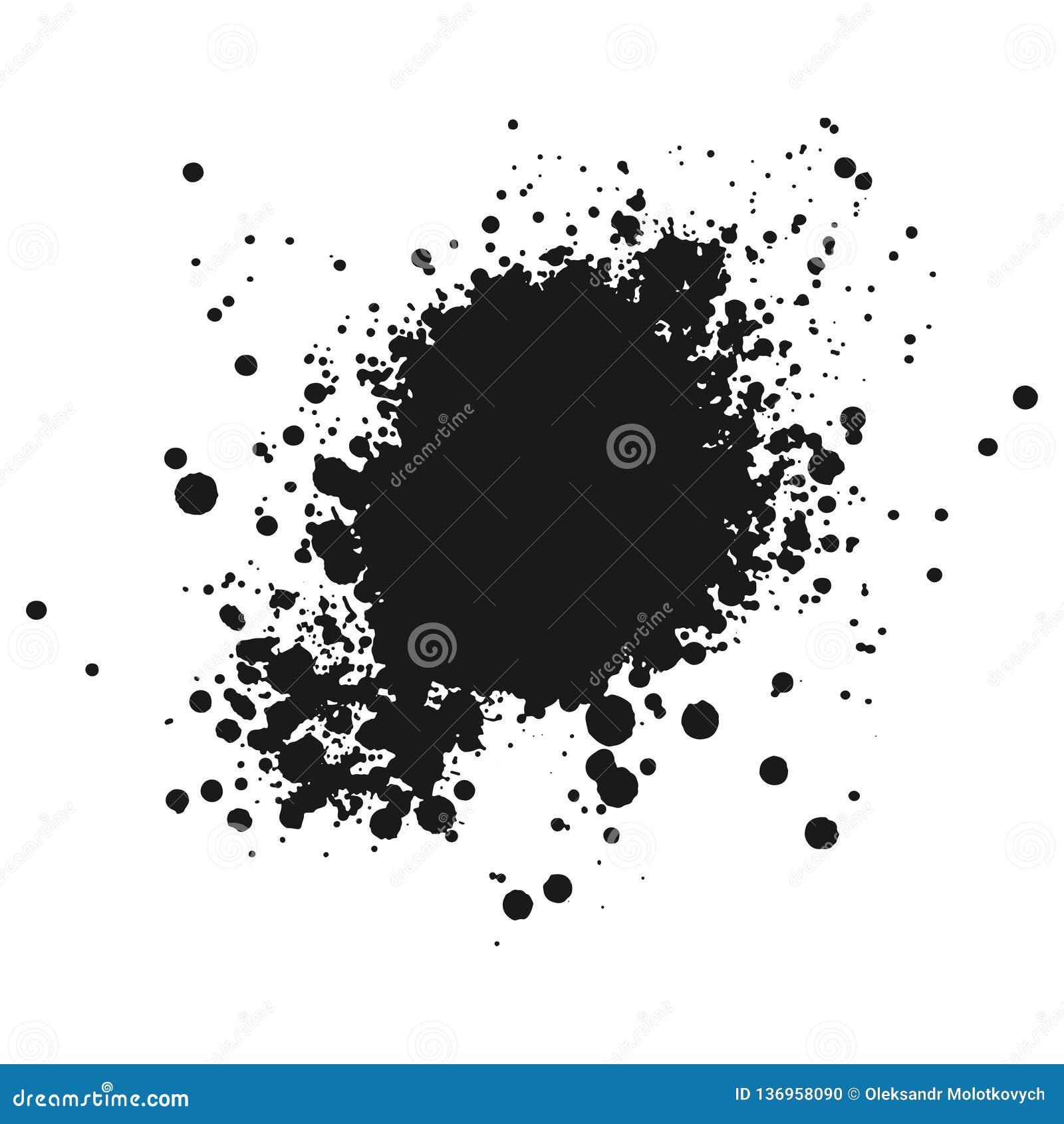 L inchiostro o la pittura monocromatico nero macchia il fondo di lerciume Vettore di struttura Grano di emergenza della sovrappos