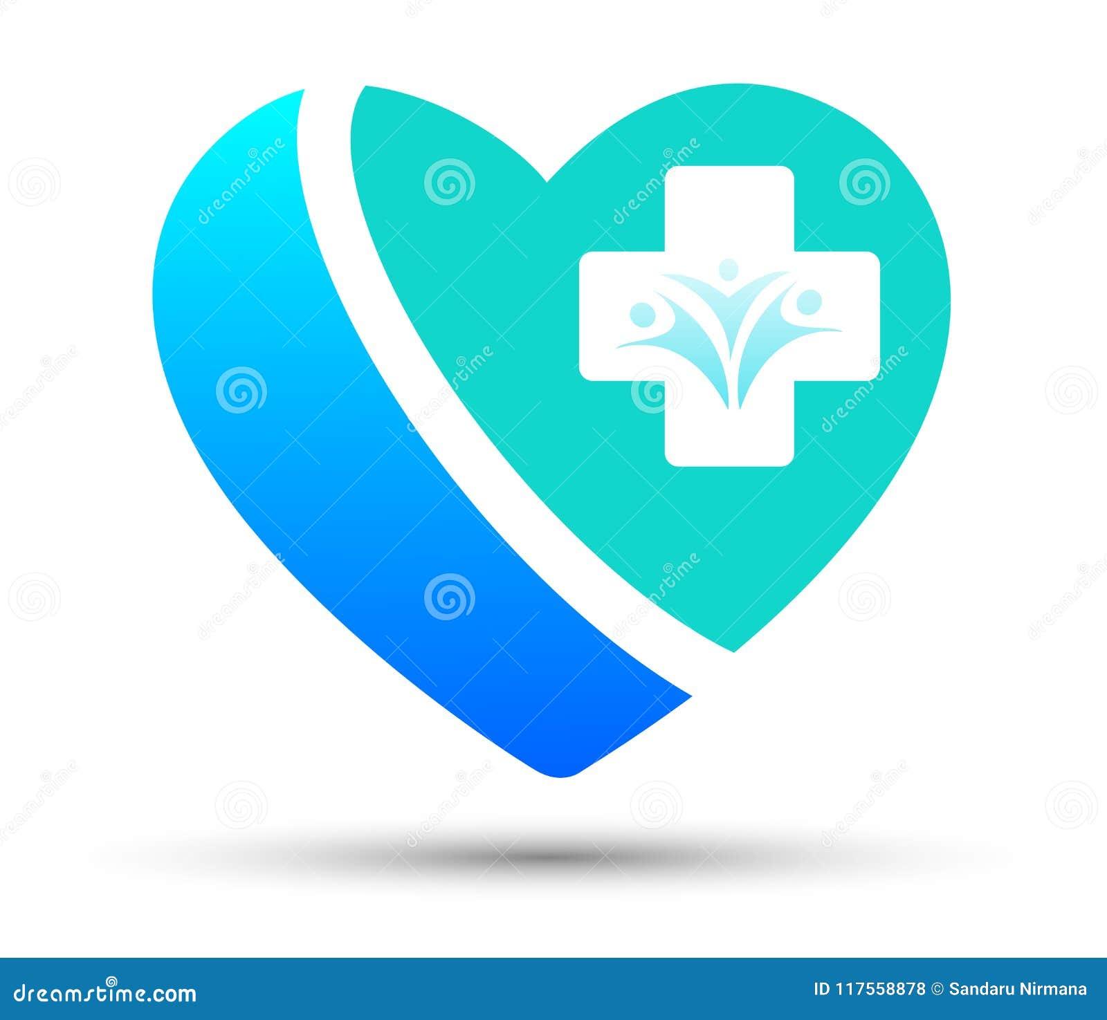 L incrocio di assistenza medica ed il cuore di salute della famiglia hanno modellato l icona di logo