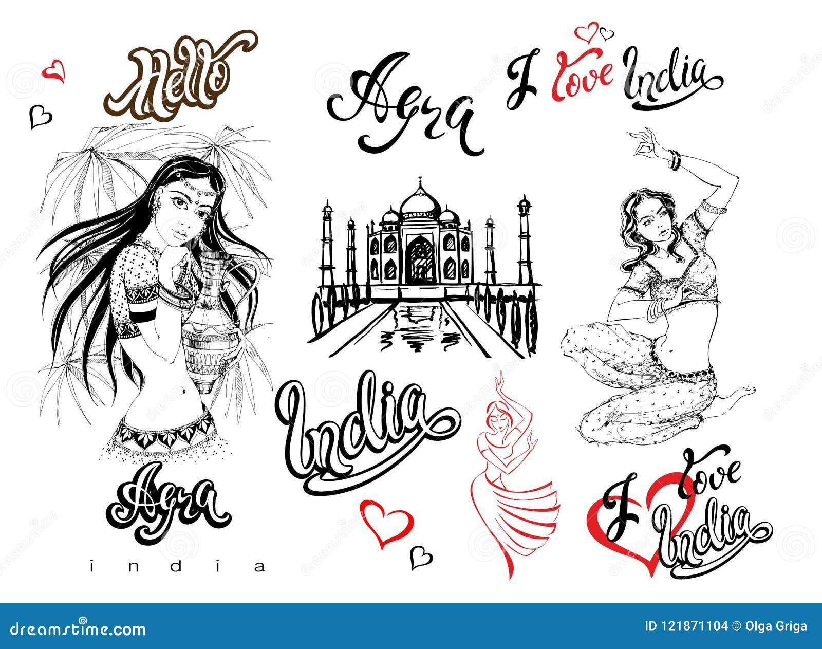 L India Insieme degli elementi per il disegno agra Schizzo di Taj Mahal Ragazze indiane in costume nazionale Danzatore Iscrizione