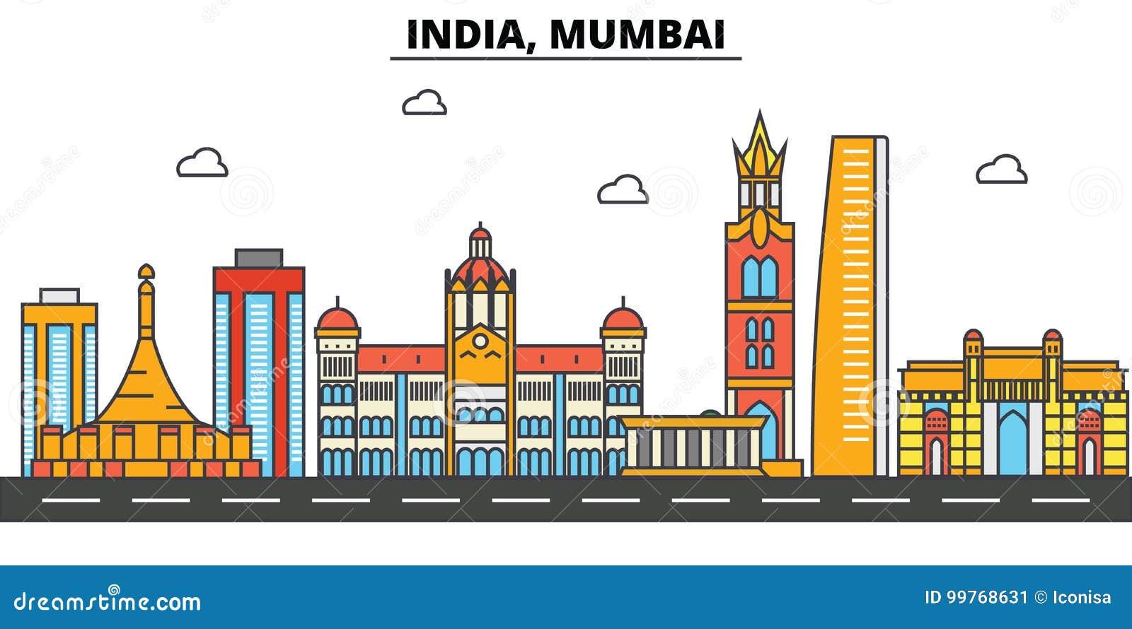 L India, Mumbai Architettura dell orizzonte della città editable