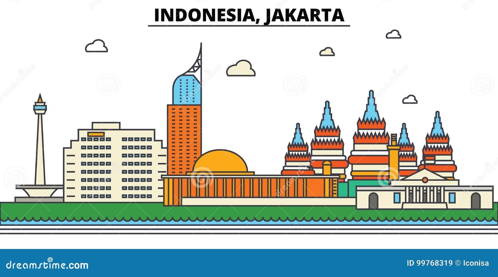 L Indonesia, Jakarta Architettura dell orizzonte della città editable