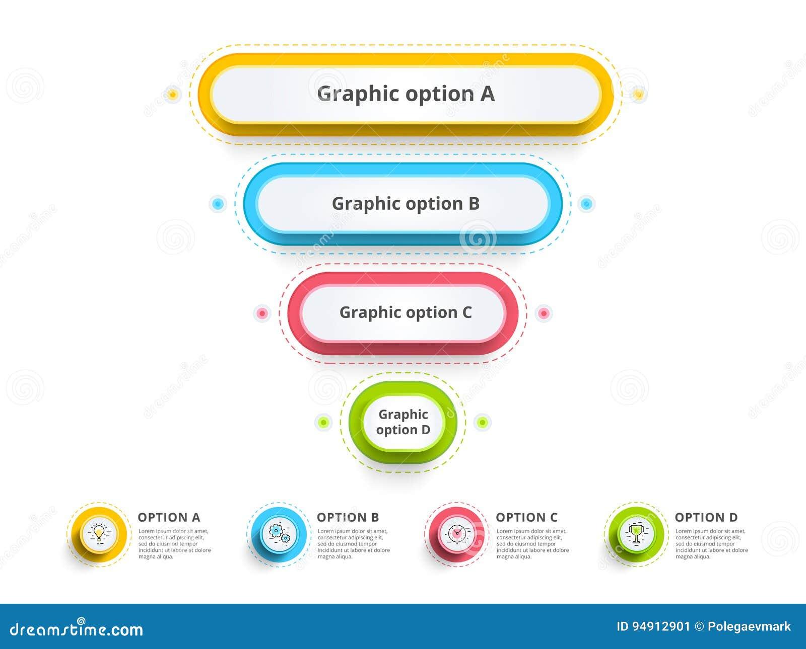 L infographics de diagramme de processus d étape de la pyramide 4 avec l option entoure f