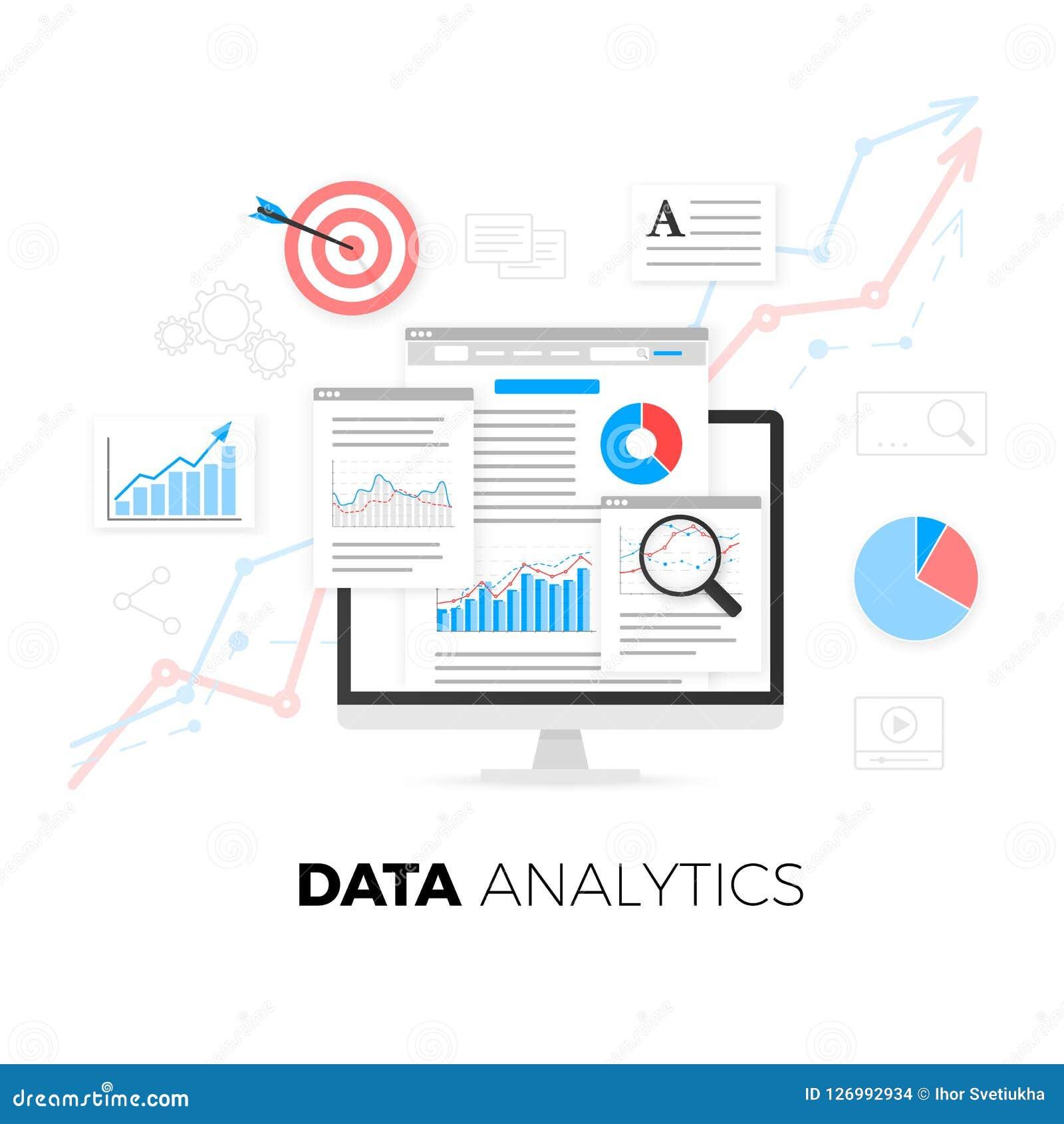 L information d analytics de données et statistique de site Web de développement de Web Illustration de vecteur