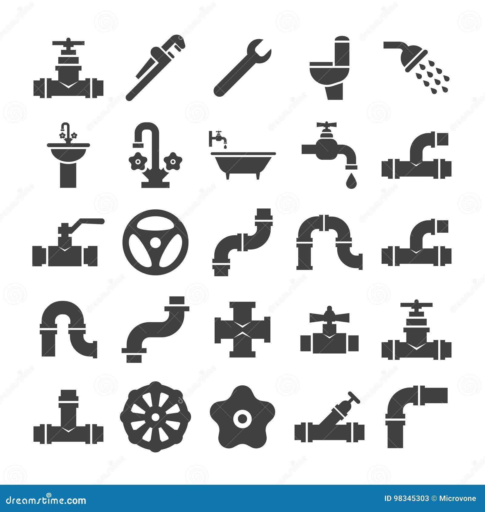 L ingegneria sanitaria, la valvola, il tubo, servizio dell impianto idraulico obietta la raccolta delle icone
