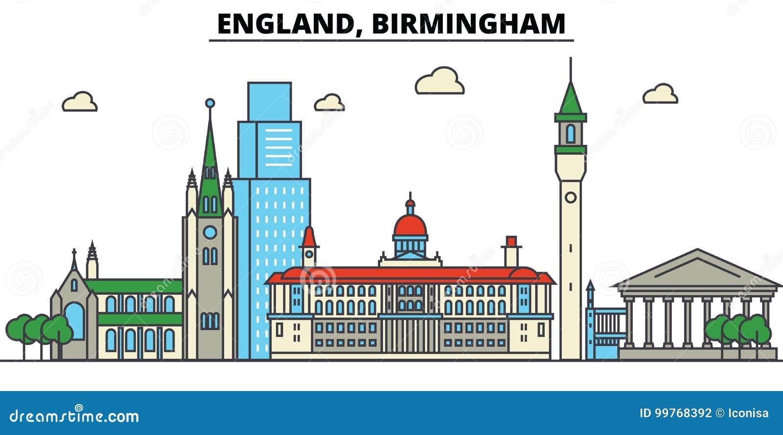 L Inghilterra, Birmingham Architettura dell orizzonte della città editable