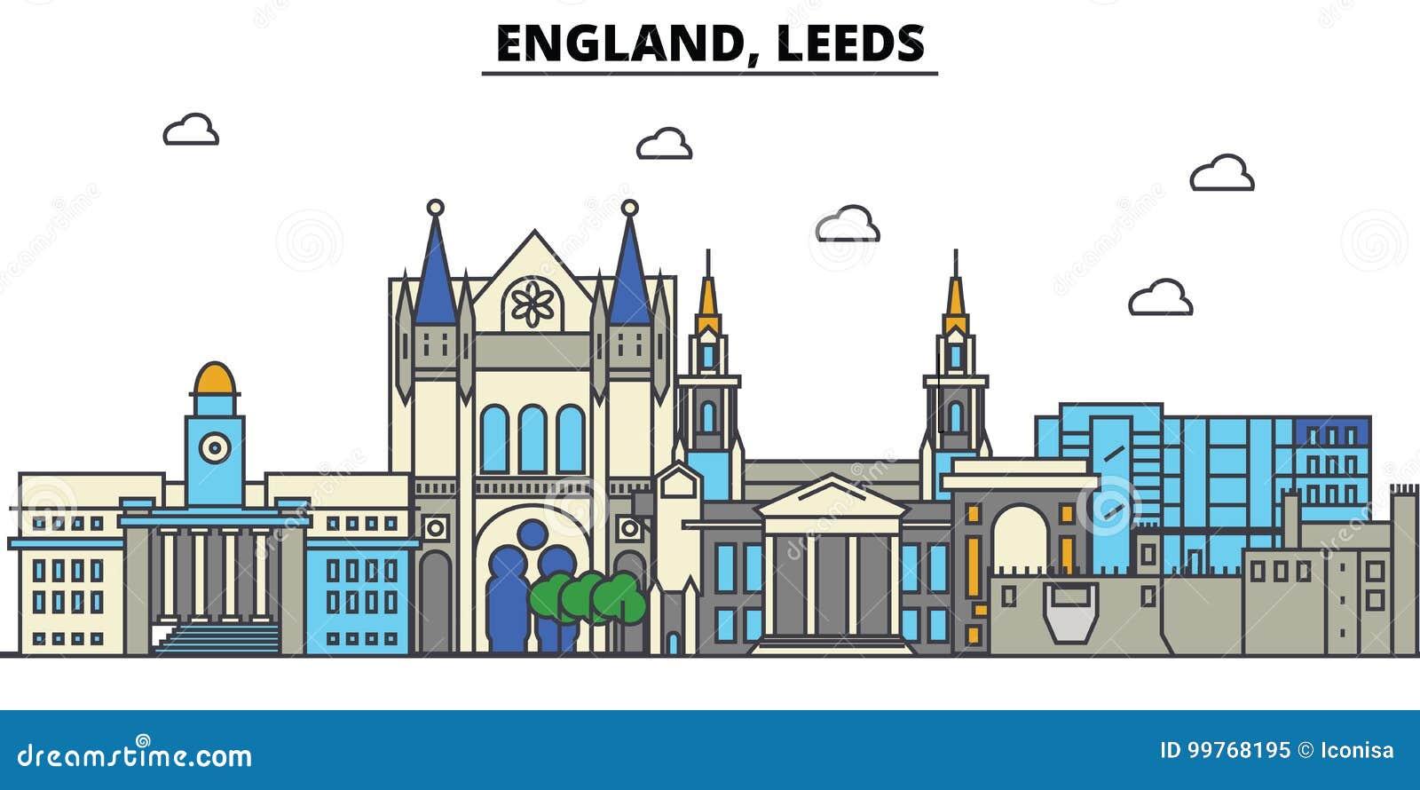L Inghilterra, Leeds Architettura dell orizzonte della città editabile