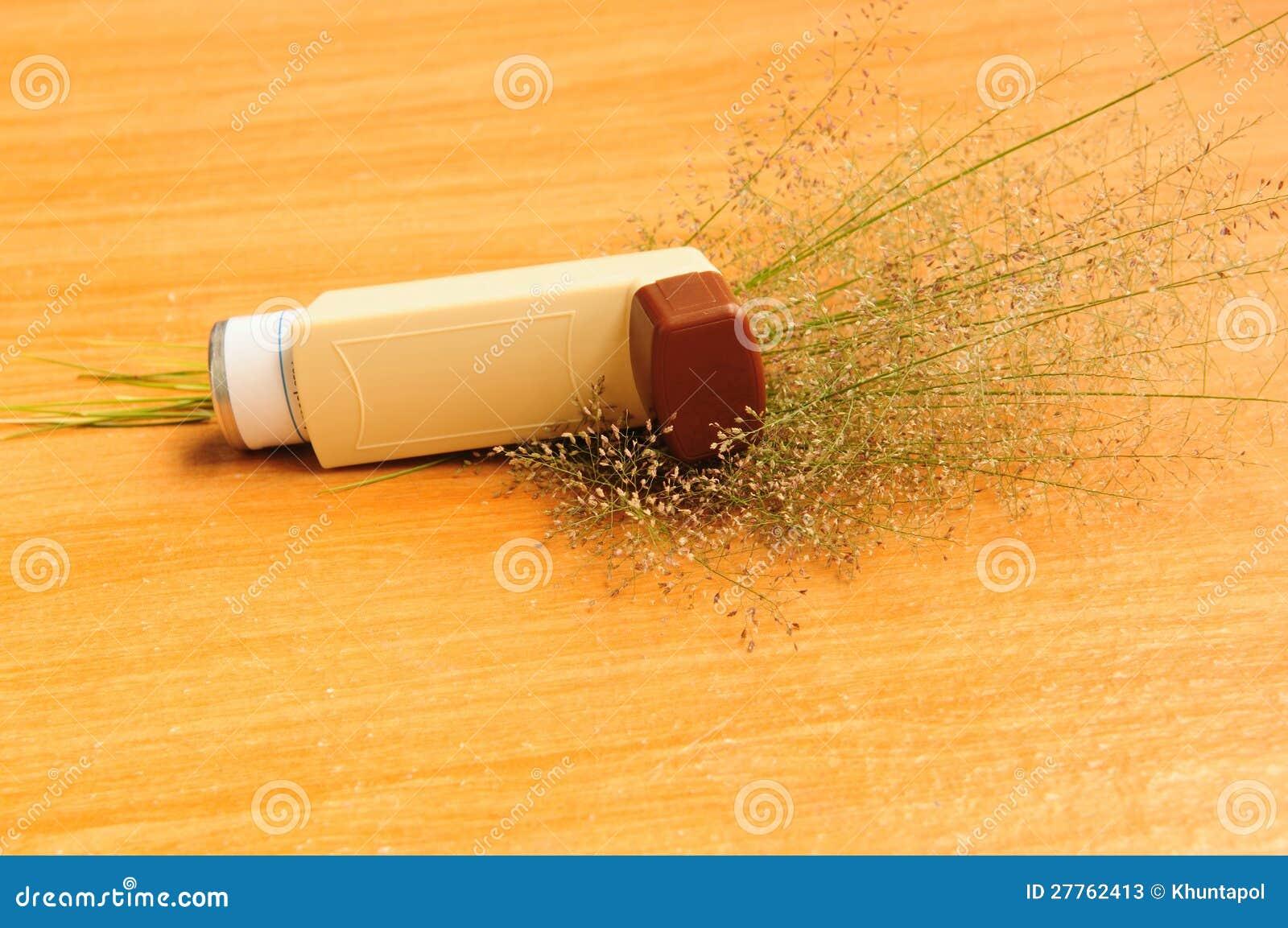 L inhalateur et l herbe d asthme fleurissent sur le fond blanc