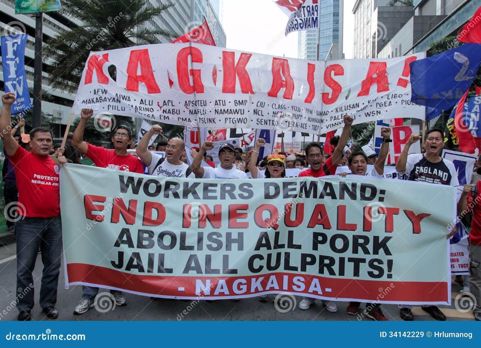 L innesto e la corruzione protestano a Manila, le Filippine