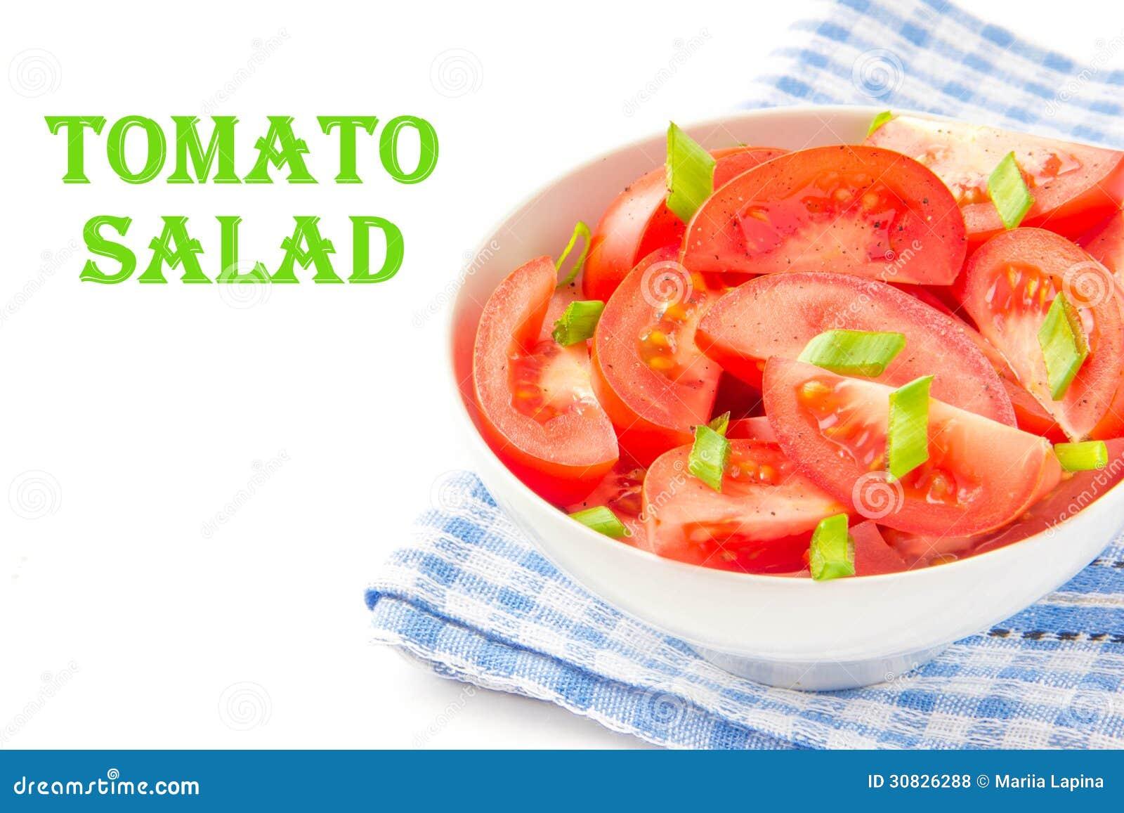 L insalata dai pomodori freschi, balza cipolle verdi e pepe nero
