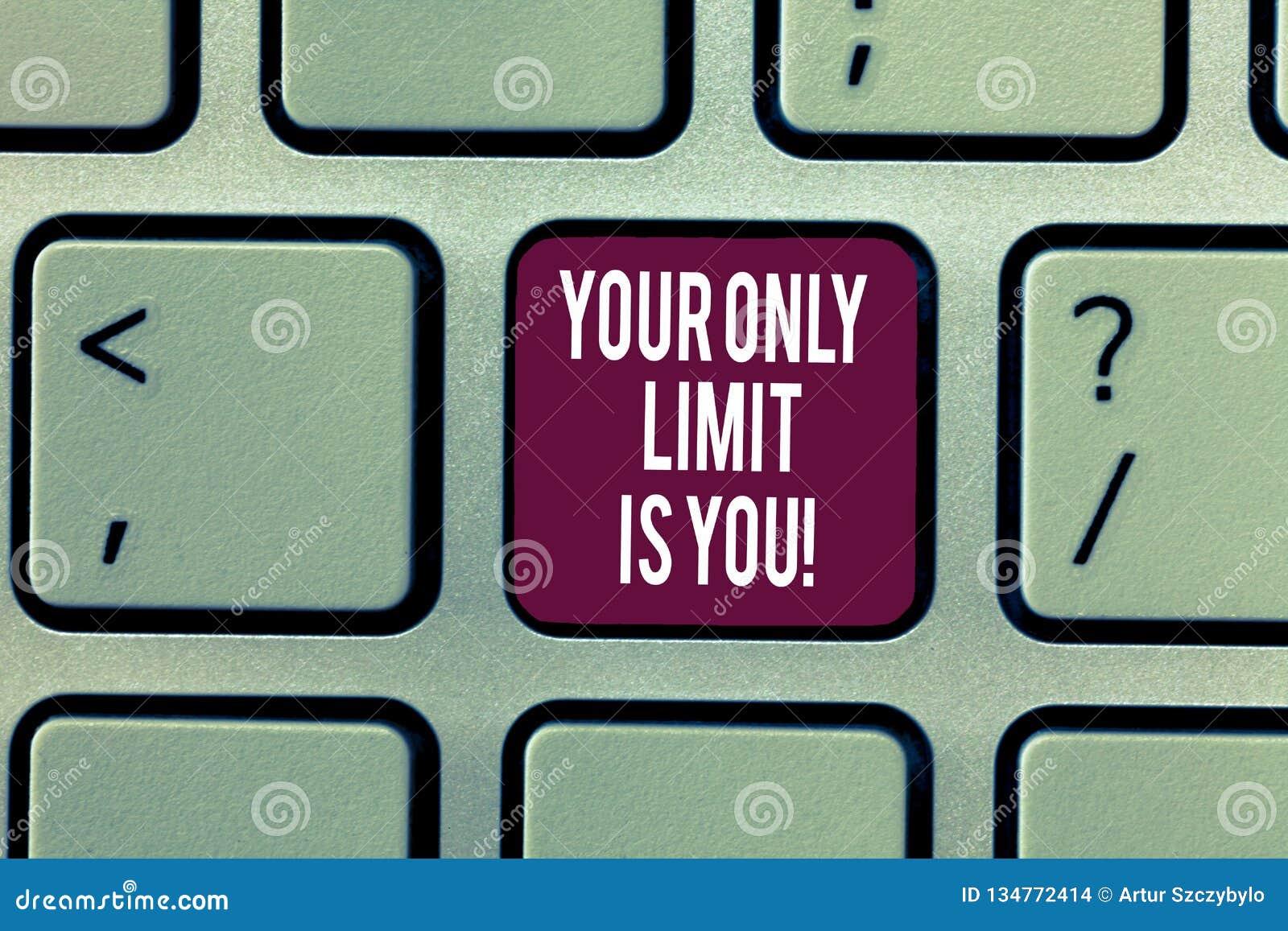 L inscription de la note montrant votre seule limite est vous La photo d affaires vous présentant a placé votre propre motivation