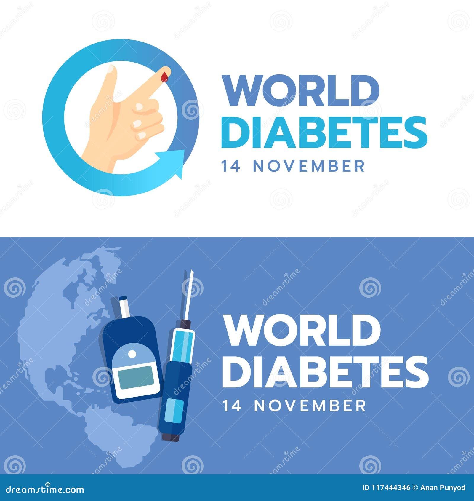 L insegna di giornata mondiale del diabete con la mano e la goccia del sangue firmano dentro il cerchio della freccia ed il sangu